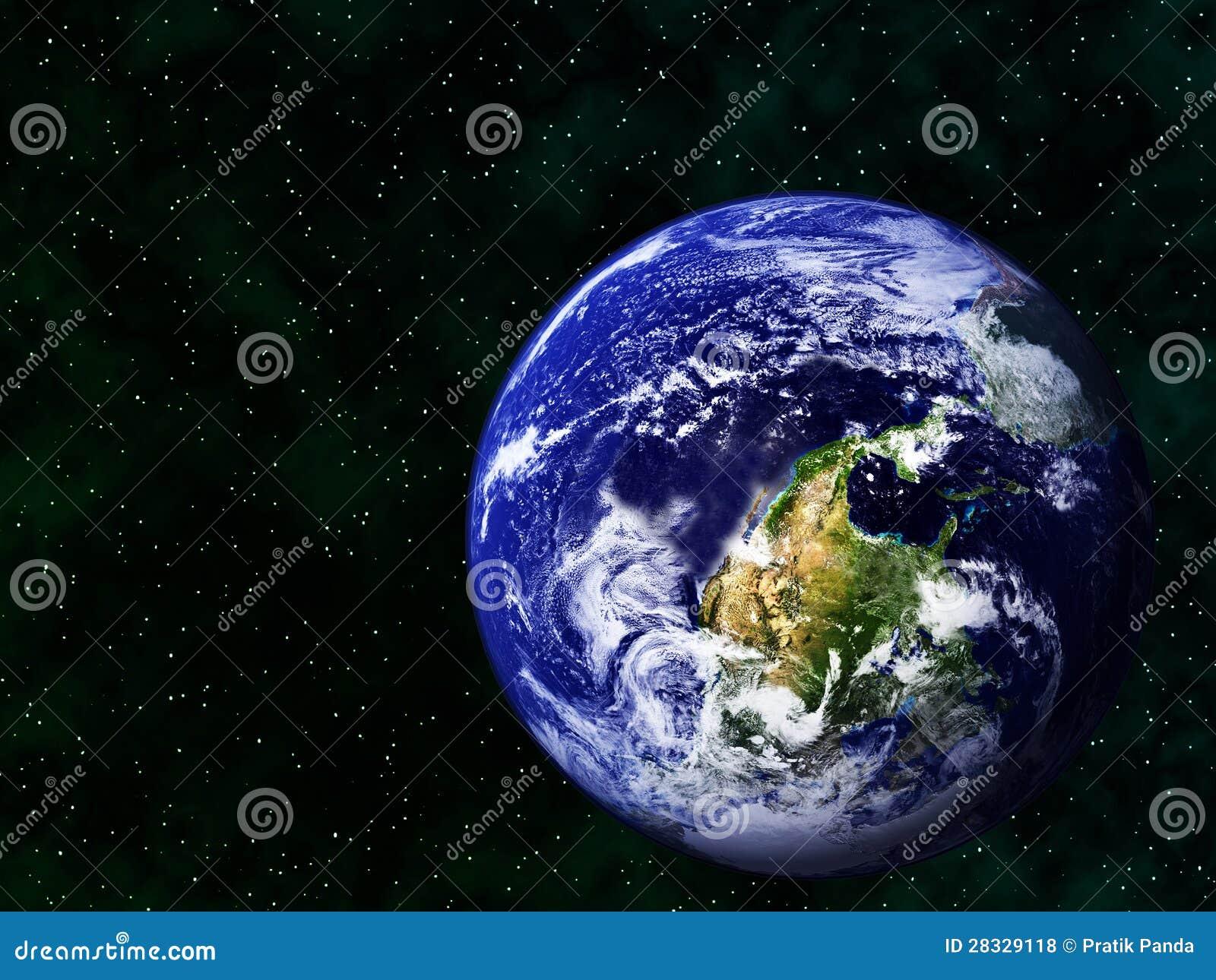 Imagen realista de la tierra upside-down en espacio