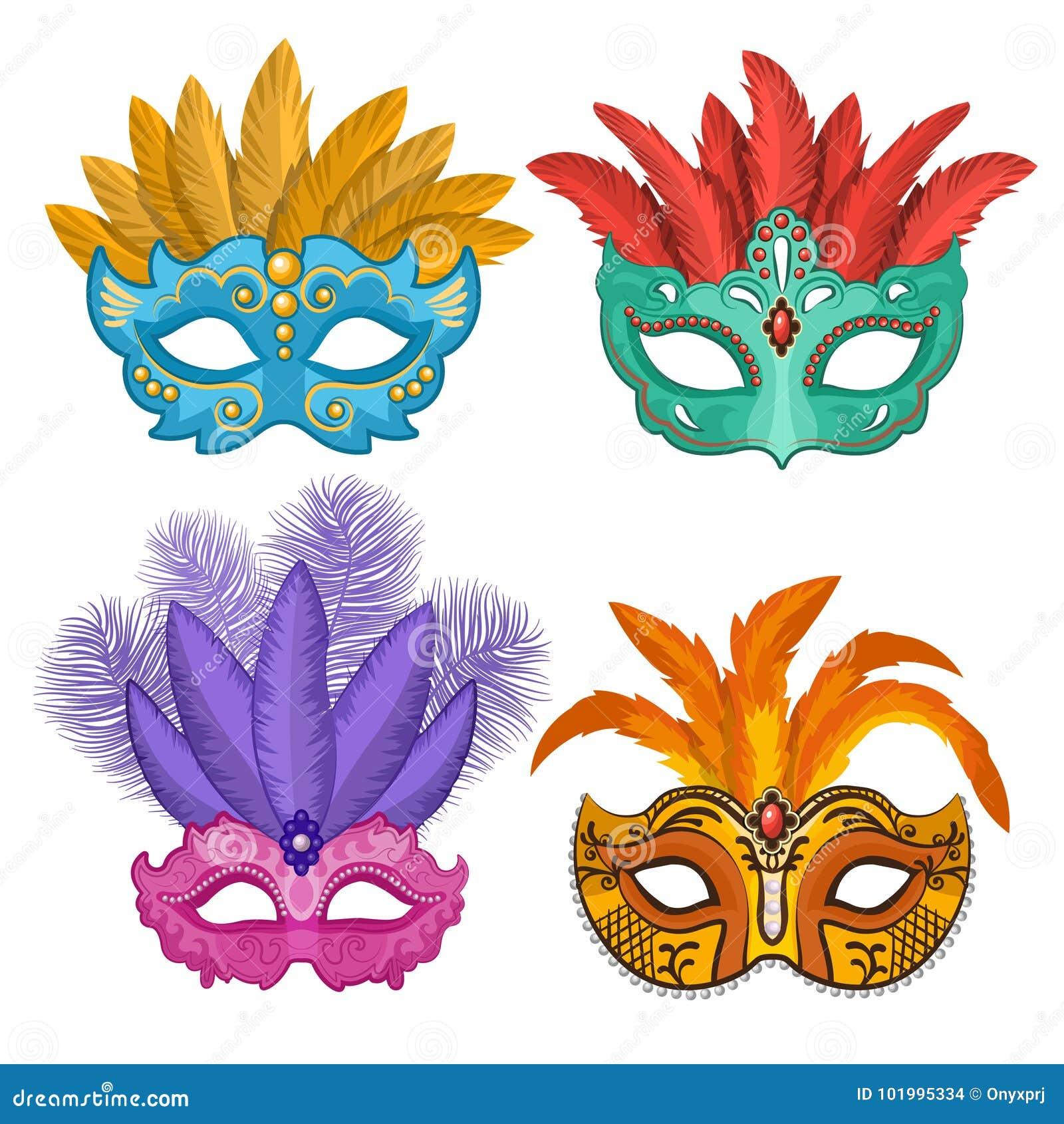 Imagens Coloridas De Máscaras Do Carnaval Ou Do Teatro Com