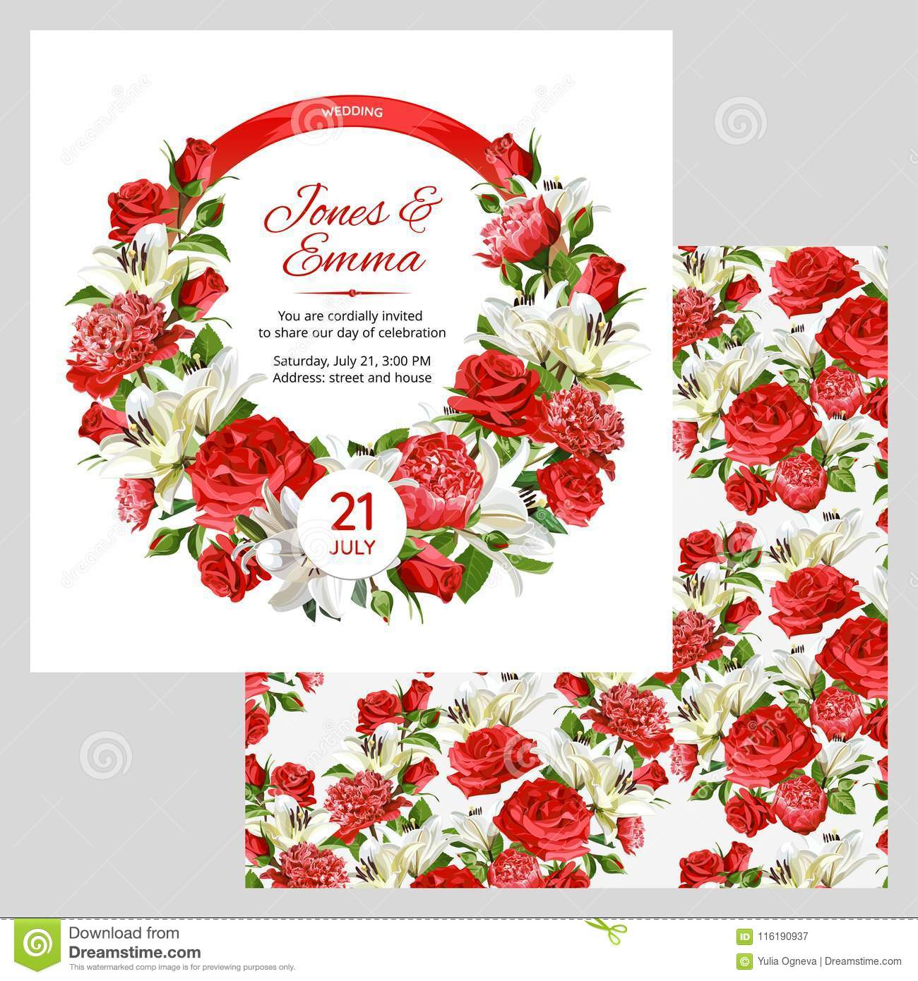 Cover Of Wedding Invitation And Seamless Pattern. Red Roses, Peonies ...