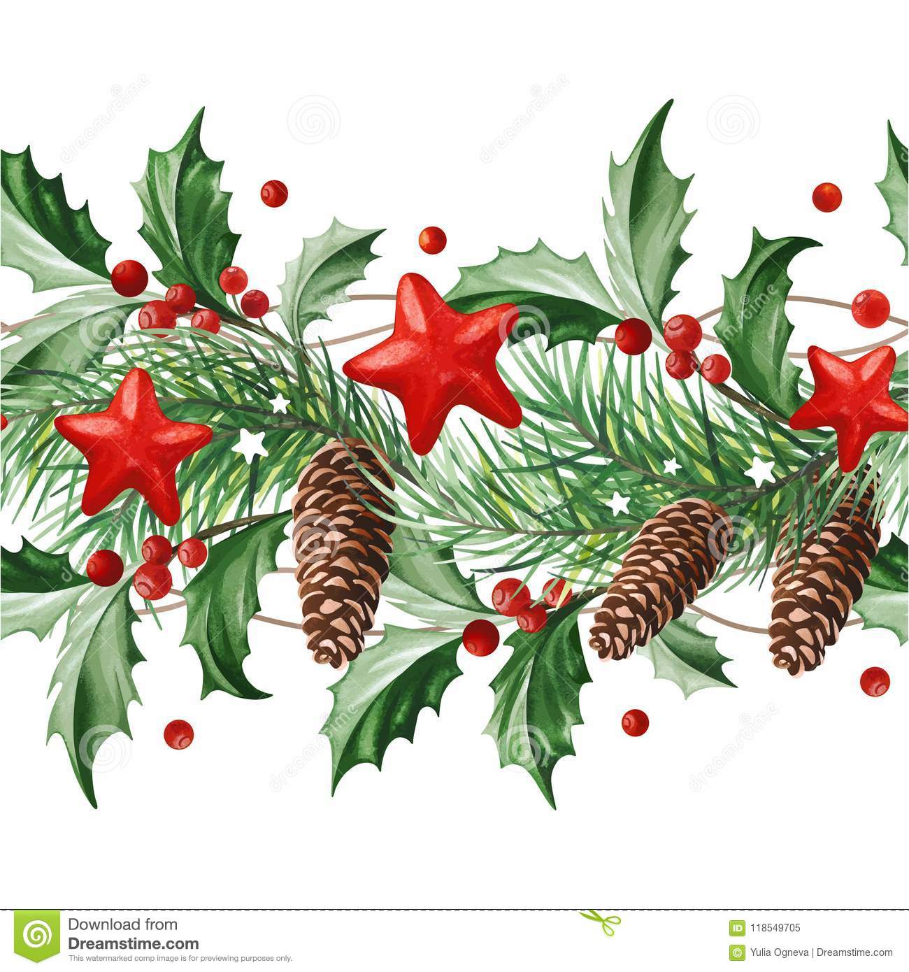 Frame With Christmas Decoration Holly Leaves Christmas