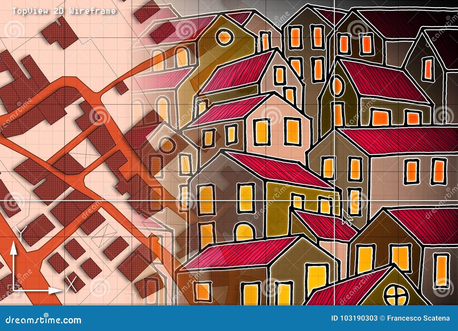 Imaginär matrikel- översikt av territoriet med byggnader och vägdren
