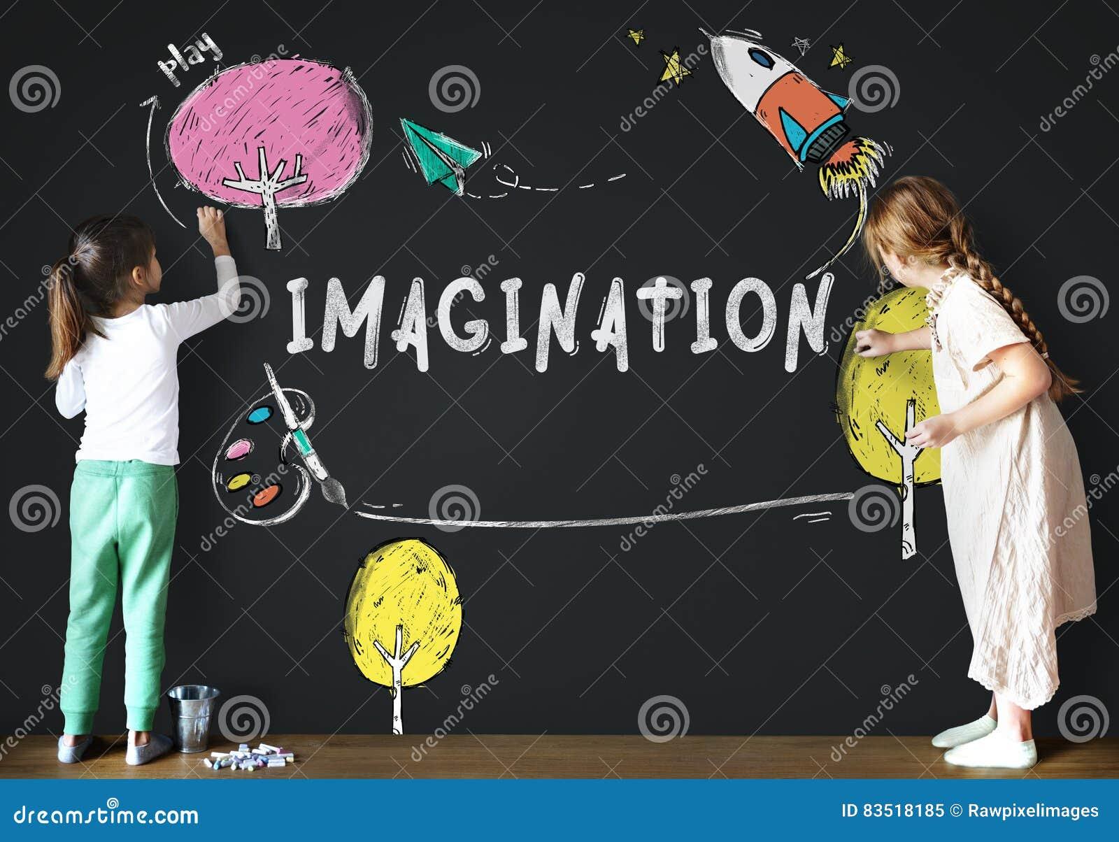 Imaginación de los niños que aprende concepto del icono