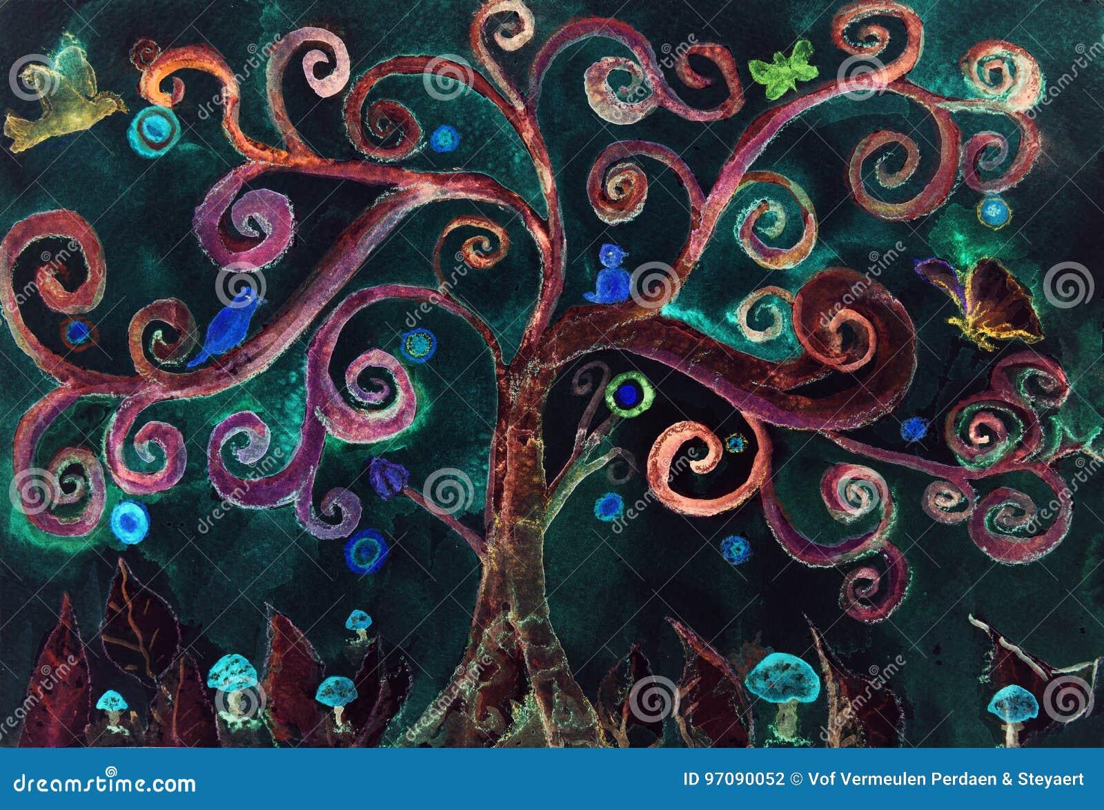Imaginacyjny turkusowy szaleńczy drzewo przeciw nocnemu niebu