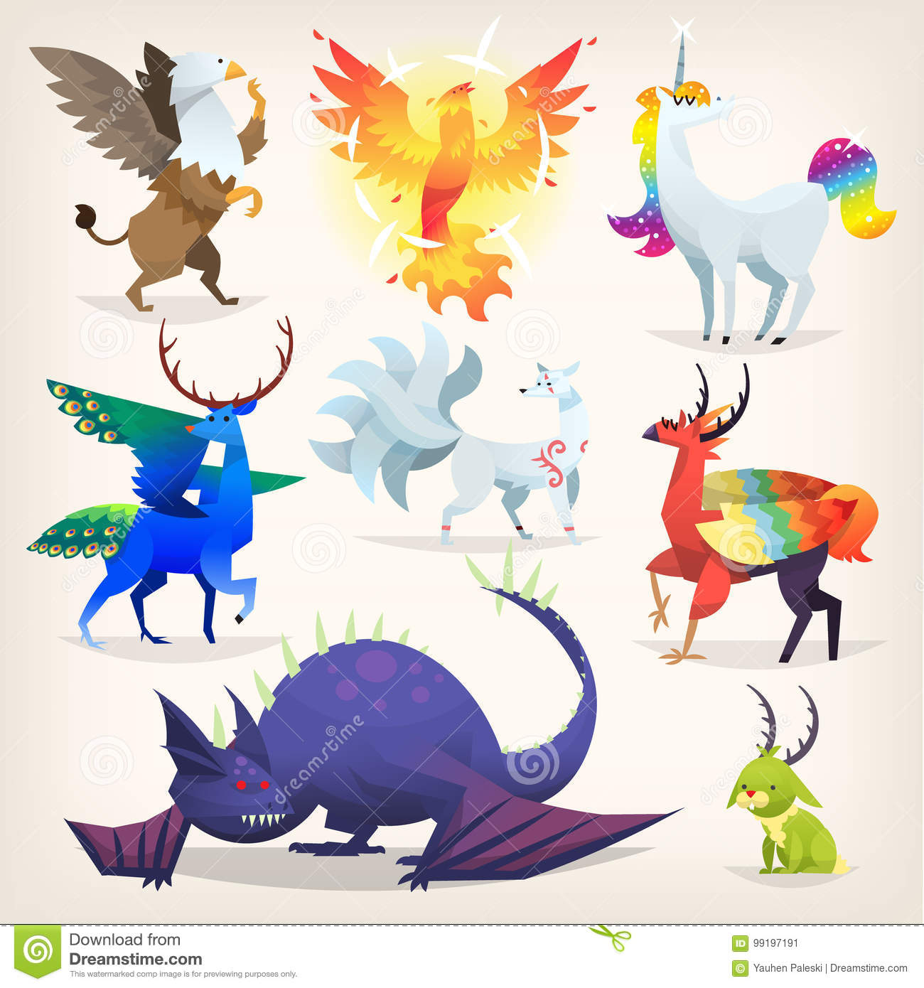imaginary animals fairy tales creatures fantasy mythological colorful preview