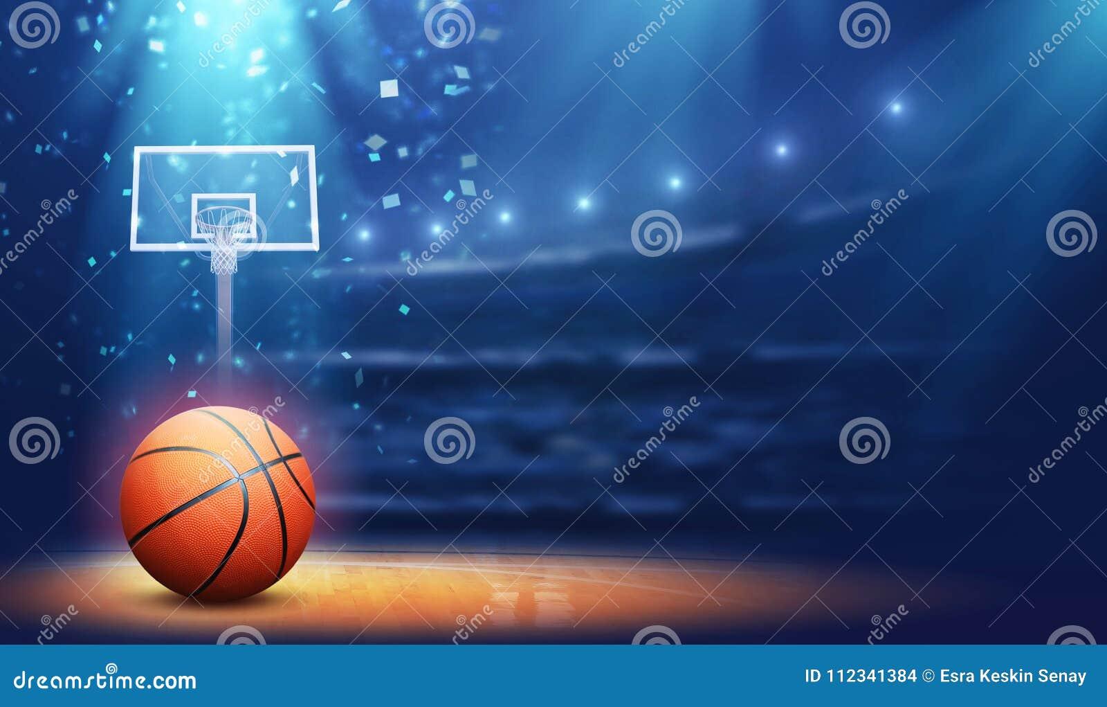 Basketball arena and ball