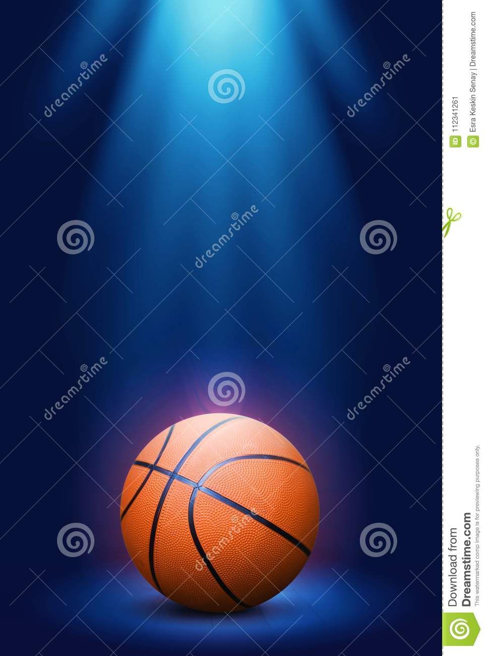 Basketball on the blue background.