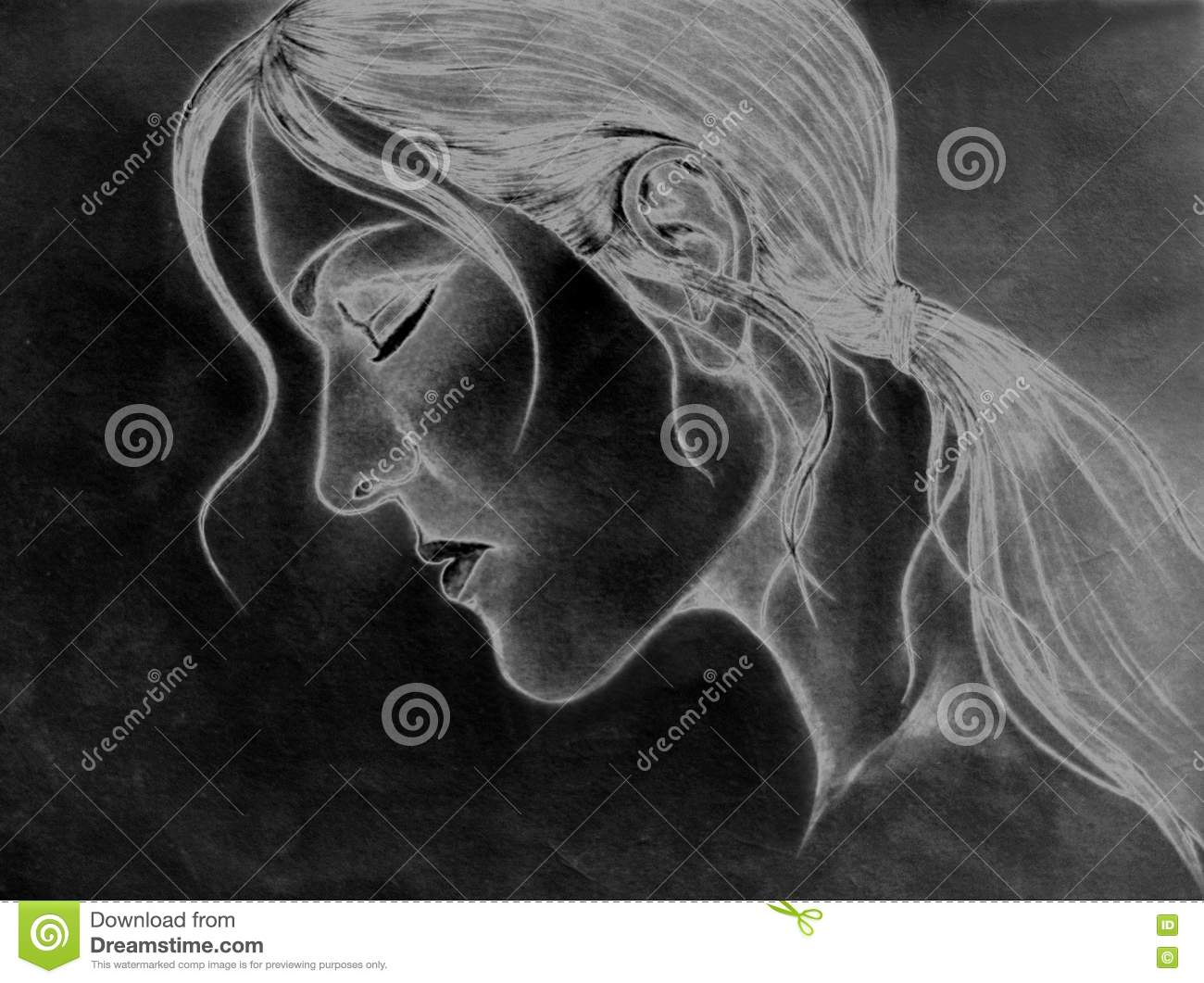 This is not a real person negative version of pencil drawing of a face of a cute lady with shading i am the author of this one