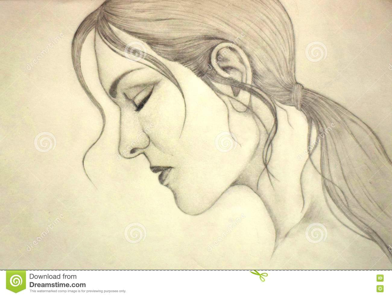 Imaginary lady face sketch drawing stock image image of girl