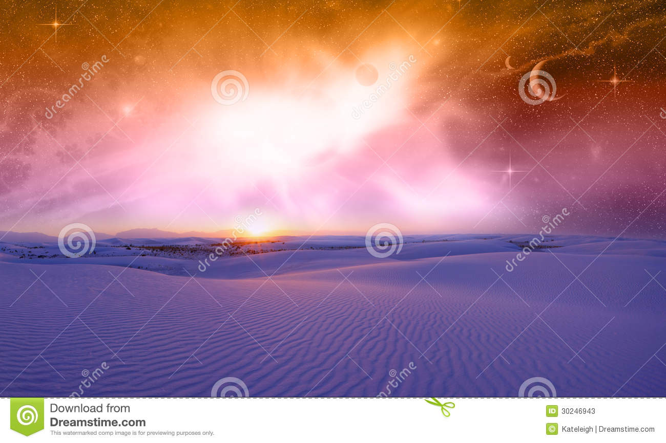 Fantasy space sunset stock photos image 30246943 for Outer space landscape