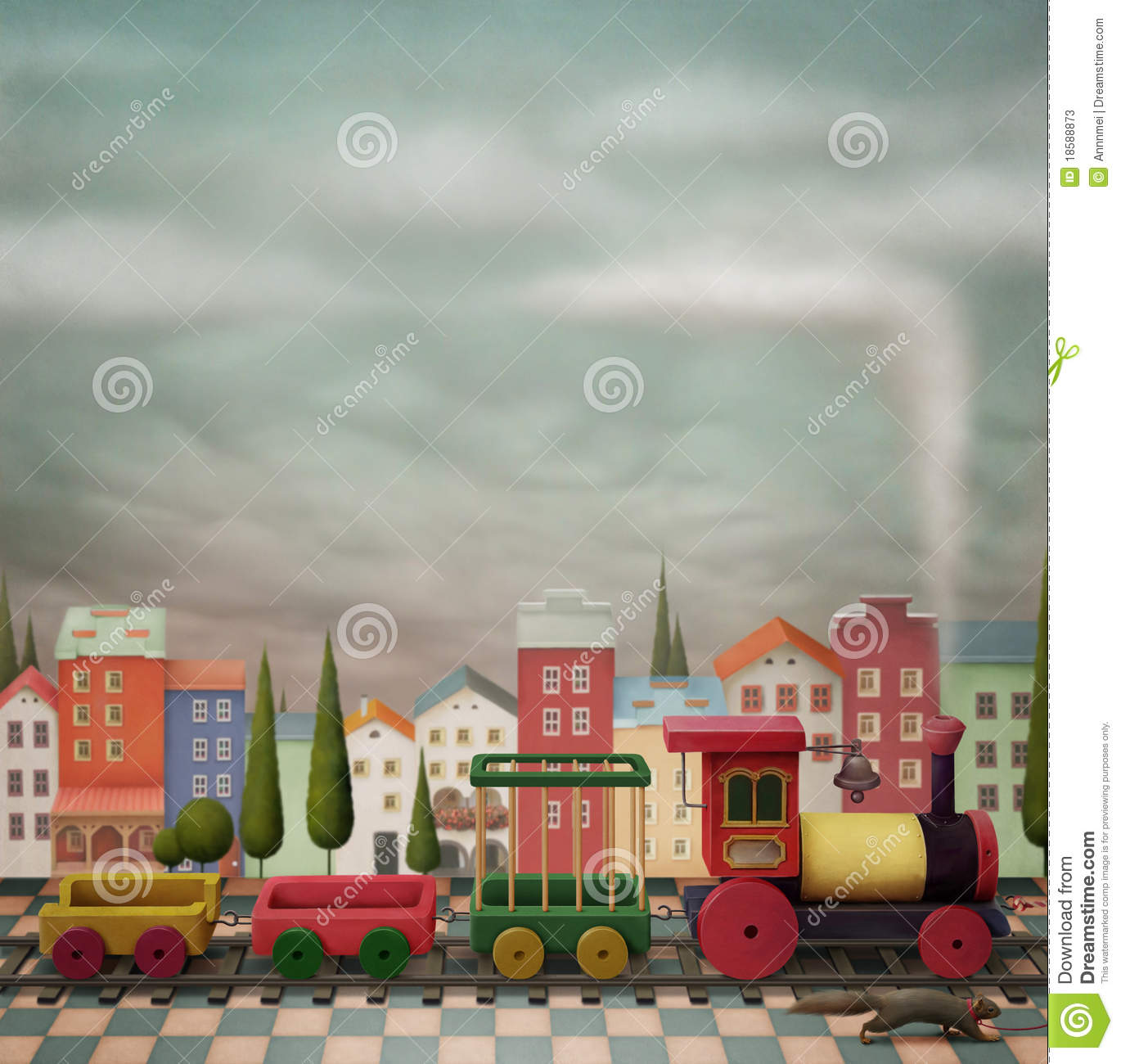 Imaginary toy train and the city