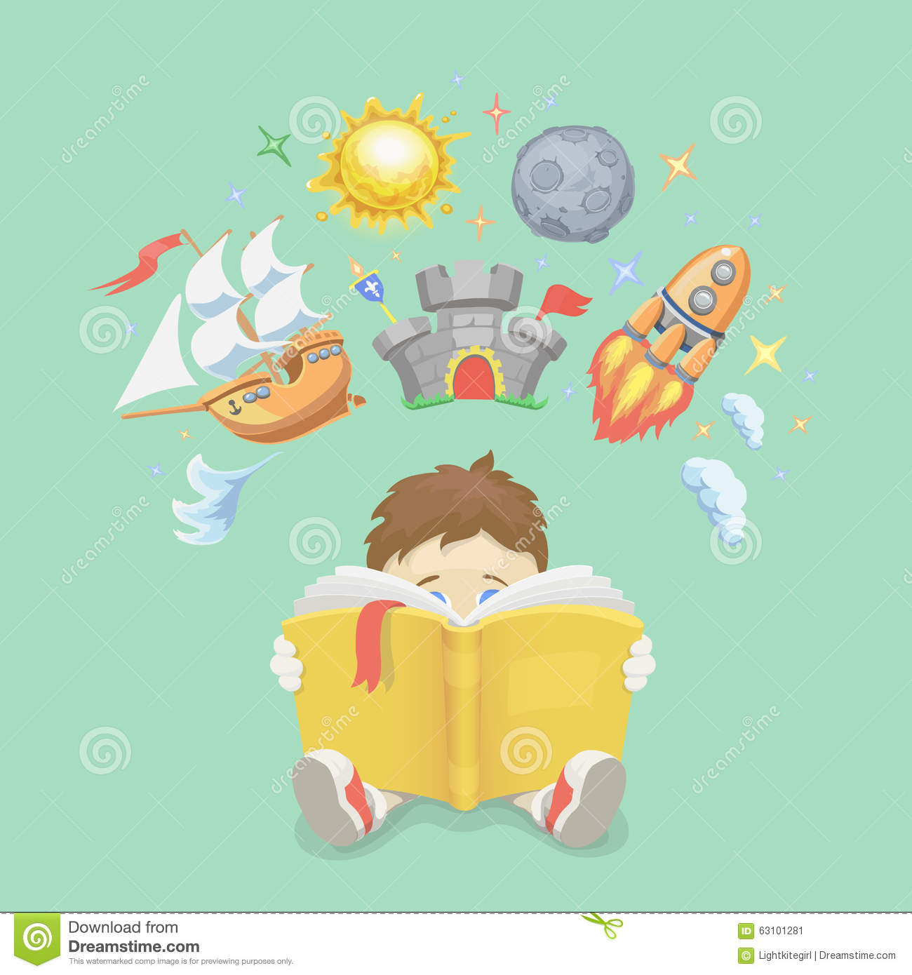 Imagination Concept Boy Reading A Book Rocket Stock