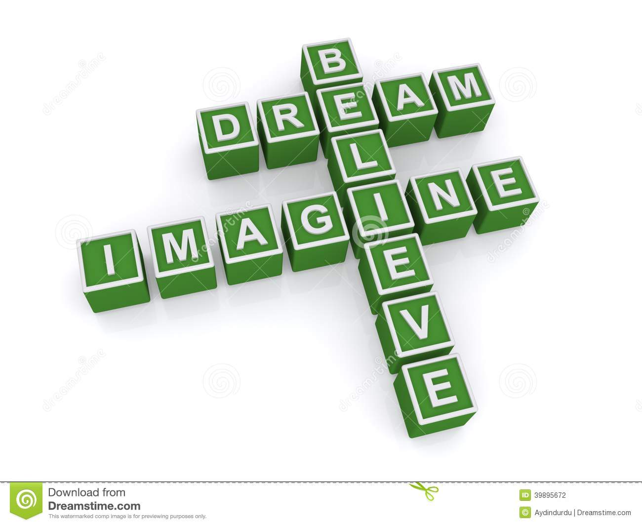 A Concept Image With Letter Cubes Forming A Crossword With The Words Imagine Dream And Believe