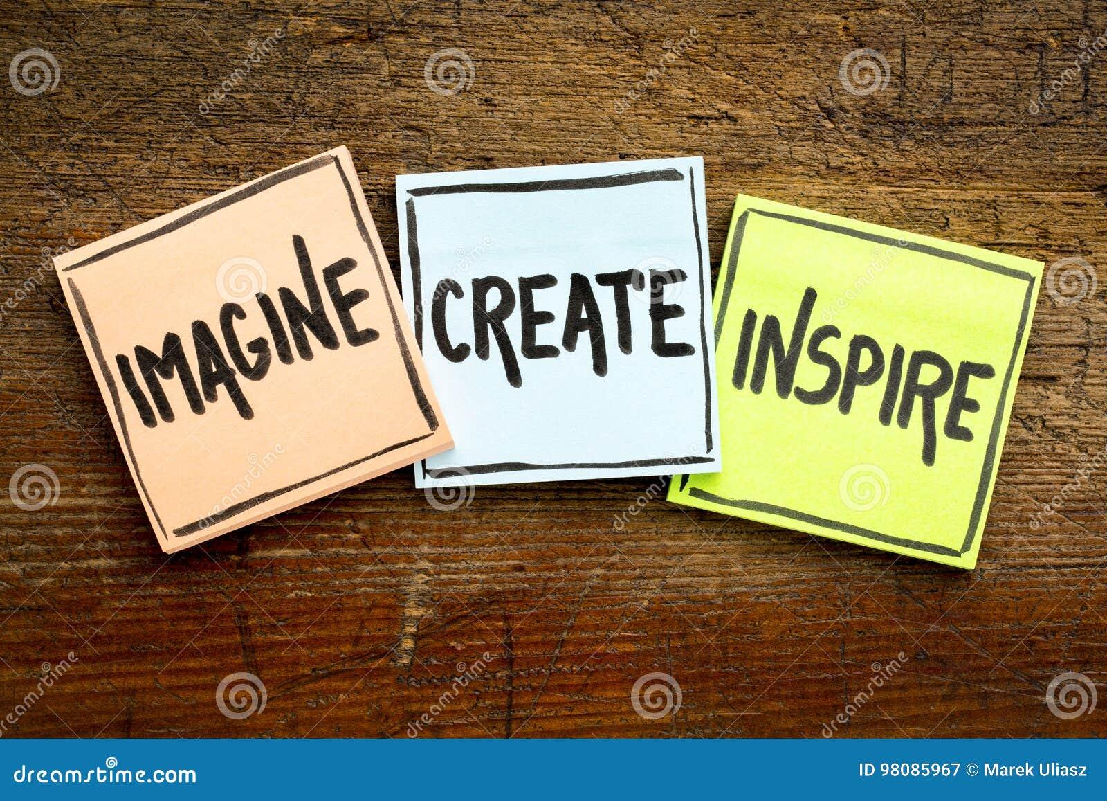 Imagine, crie, inspire o conceito em notas pegajosas