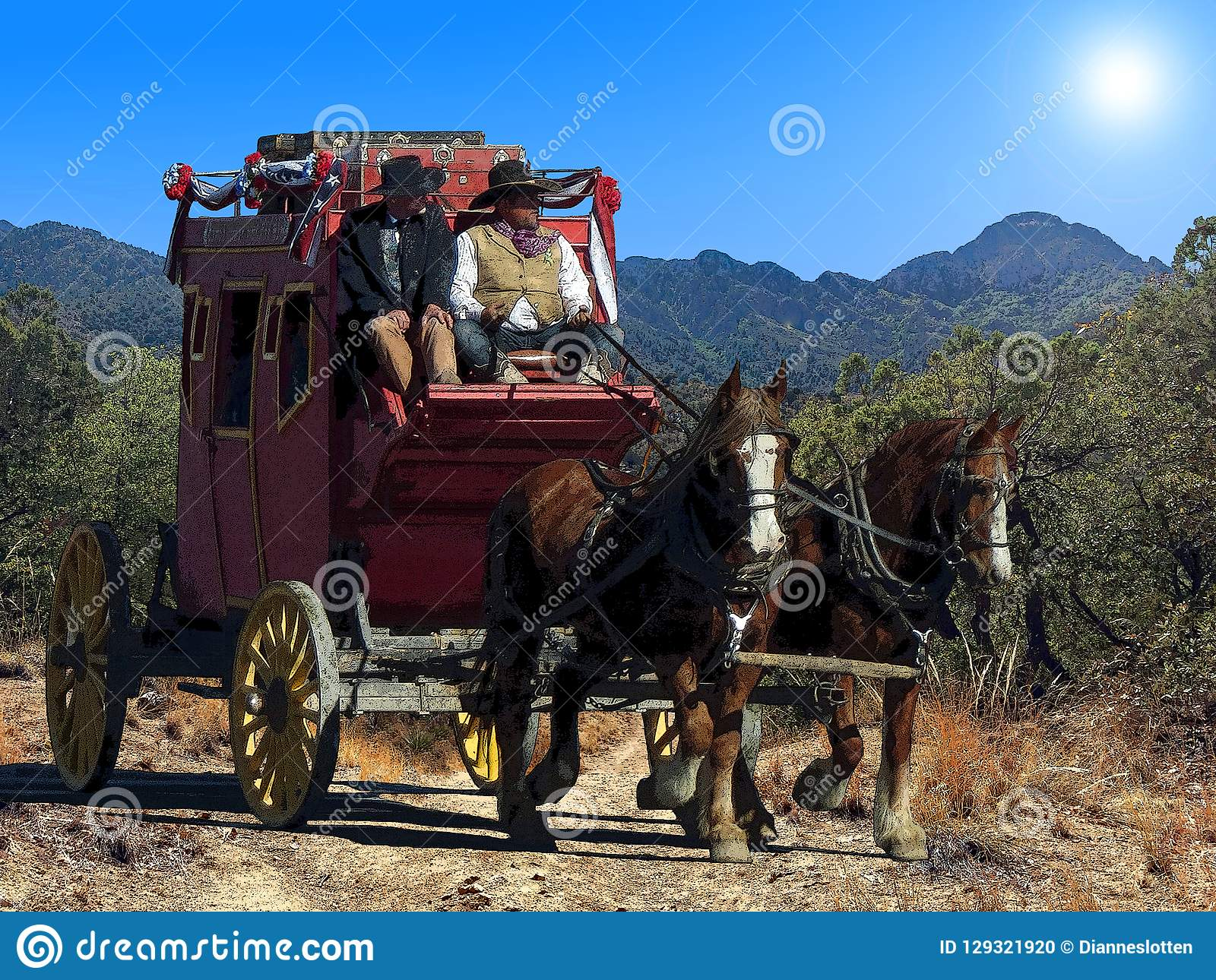 Fantasy illustration of a stagecoach traveling on a dusty trail under a hot desert sun.