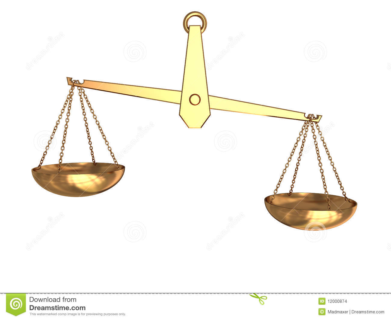 3d illustration of imbalance scale isolated over white background.