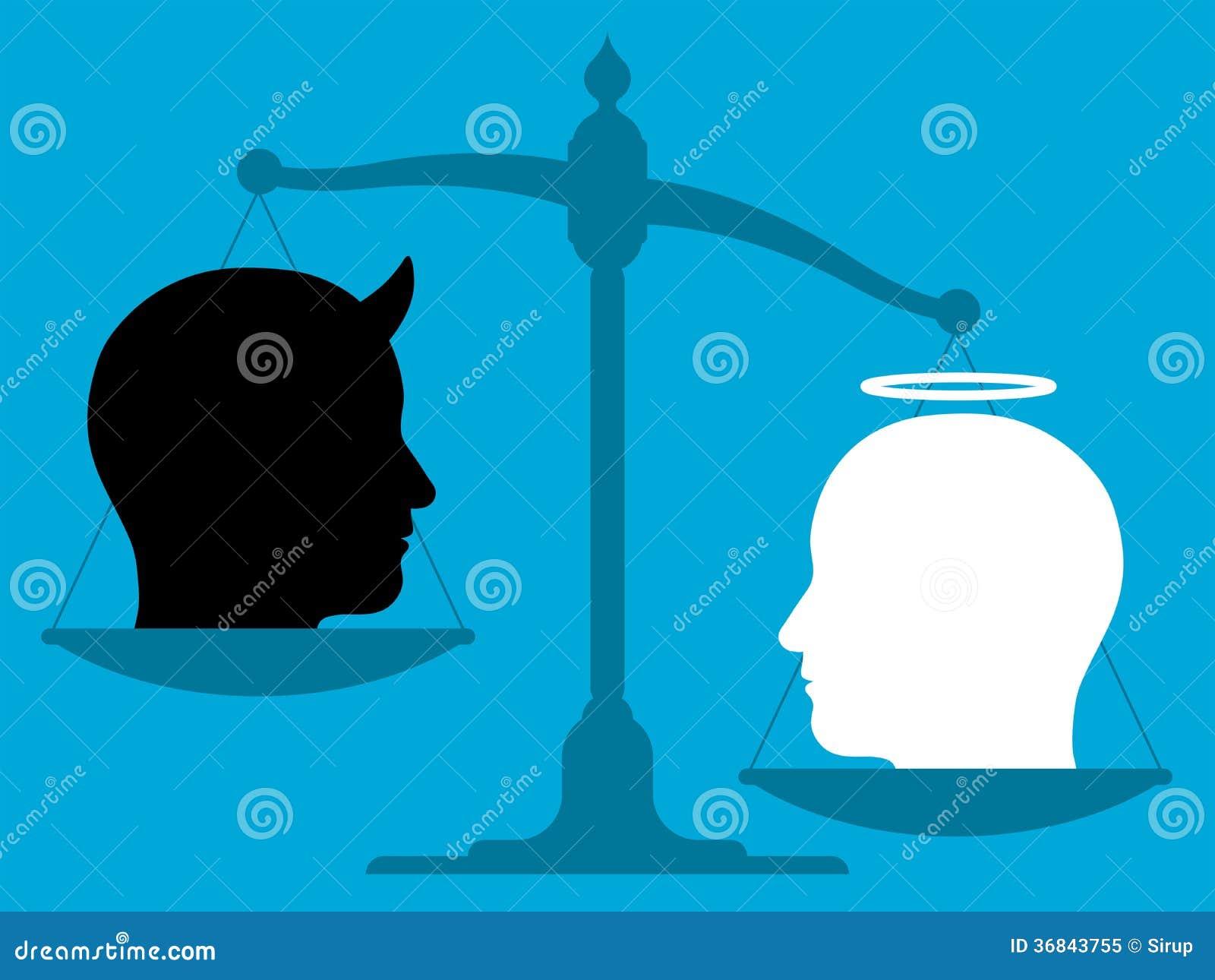 Devil Head Symbol Angel woman and man devil head