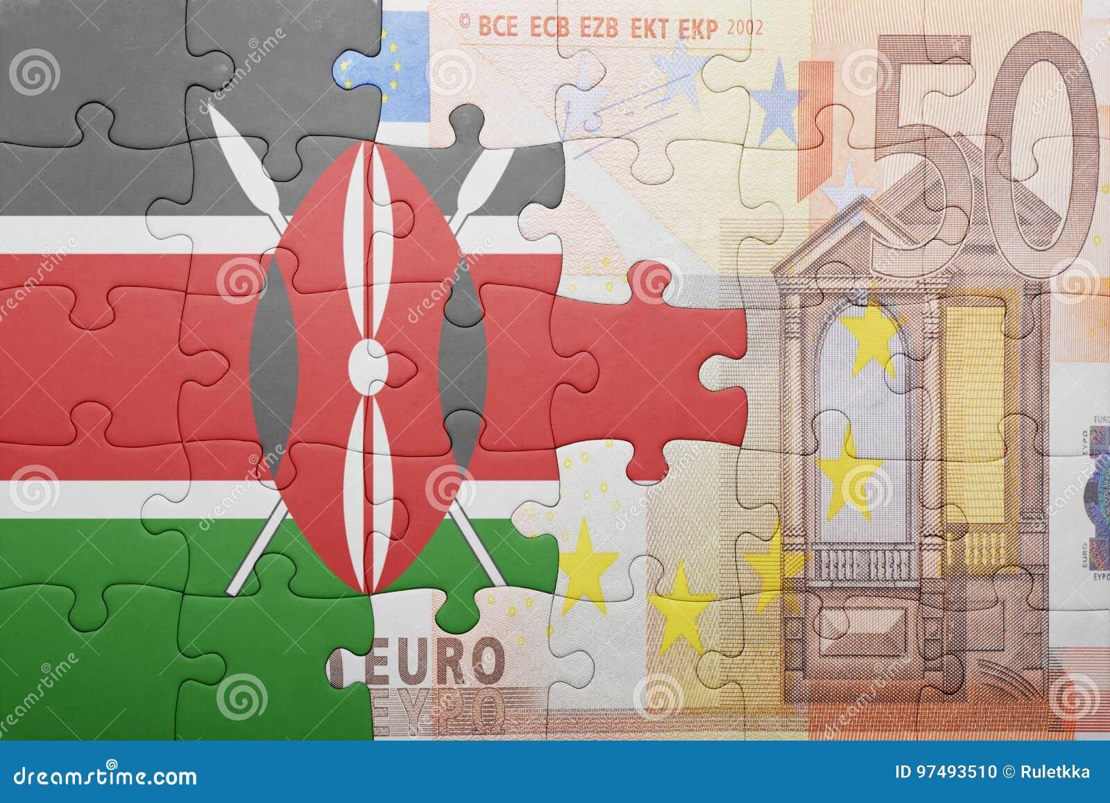 Imbarazzi con la bandiera nazionale del Kenia e di euro banconota