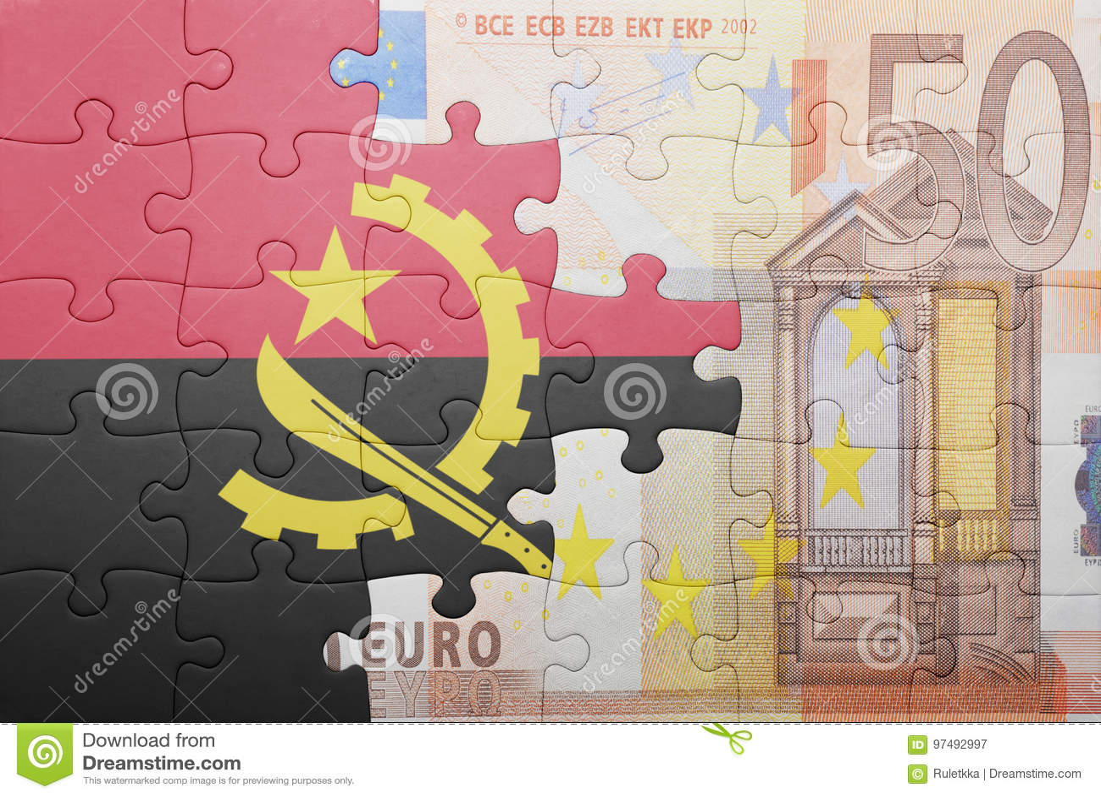 Imbarazzi con la bandiera nazionale dell Angola e di euro banconota