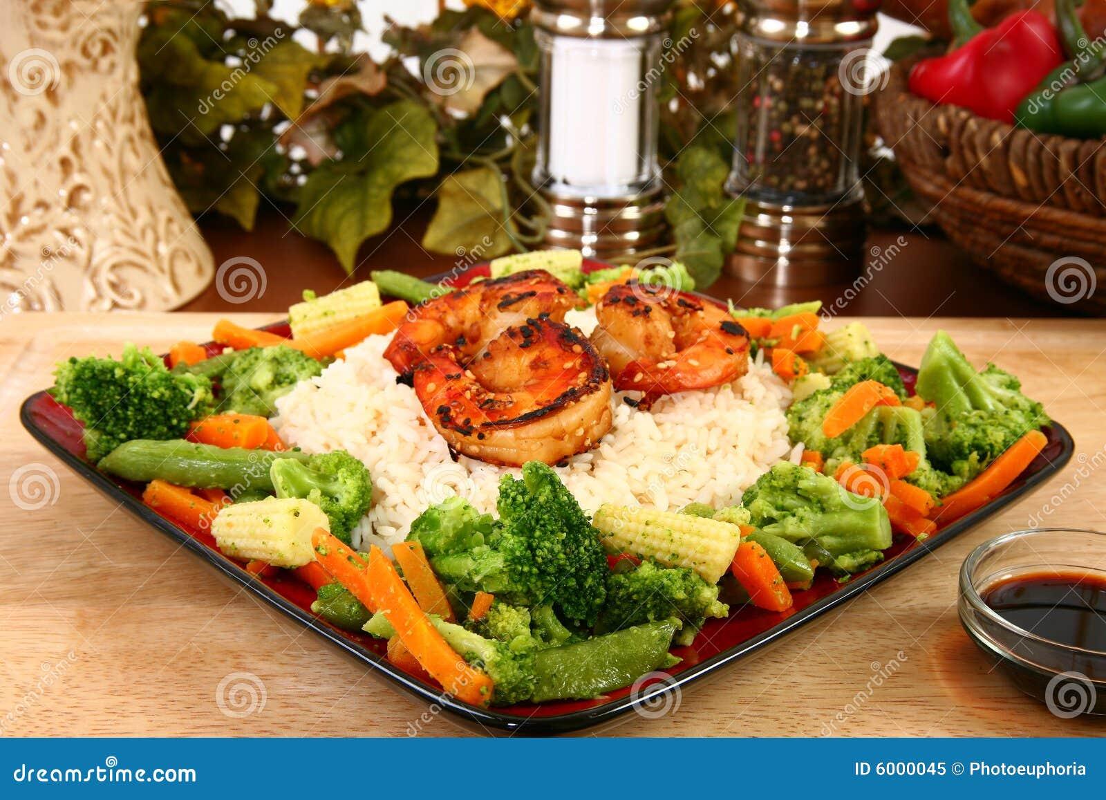 Imbirowi krewetkowe ryżu teriyaki warzywa