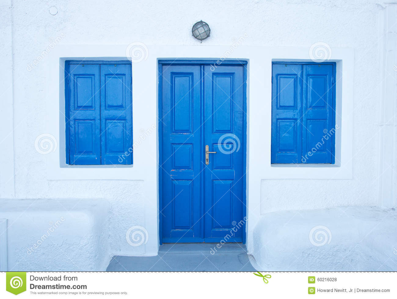 Imerovigli blue doors on Santorini Island