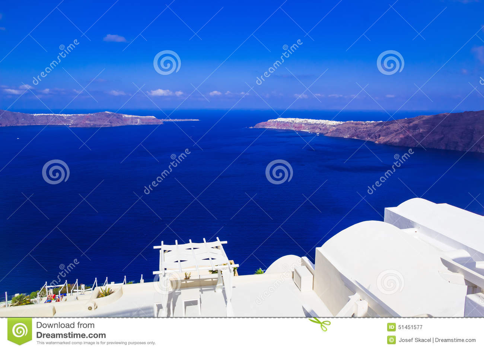 Imerovigli calderasikt in mot Oia, Santorini, Grekland