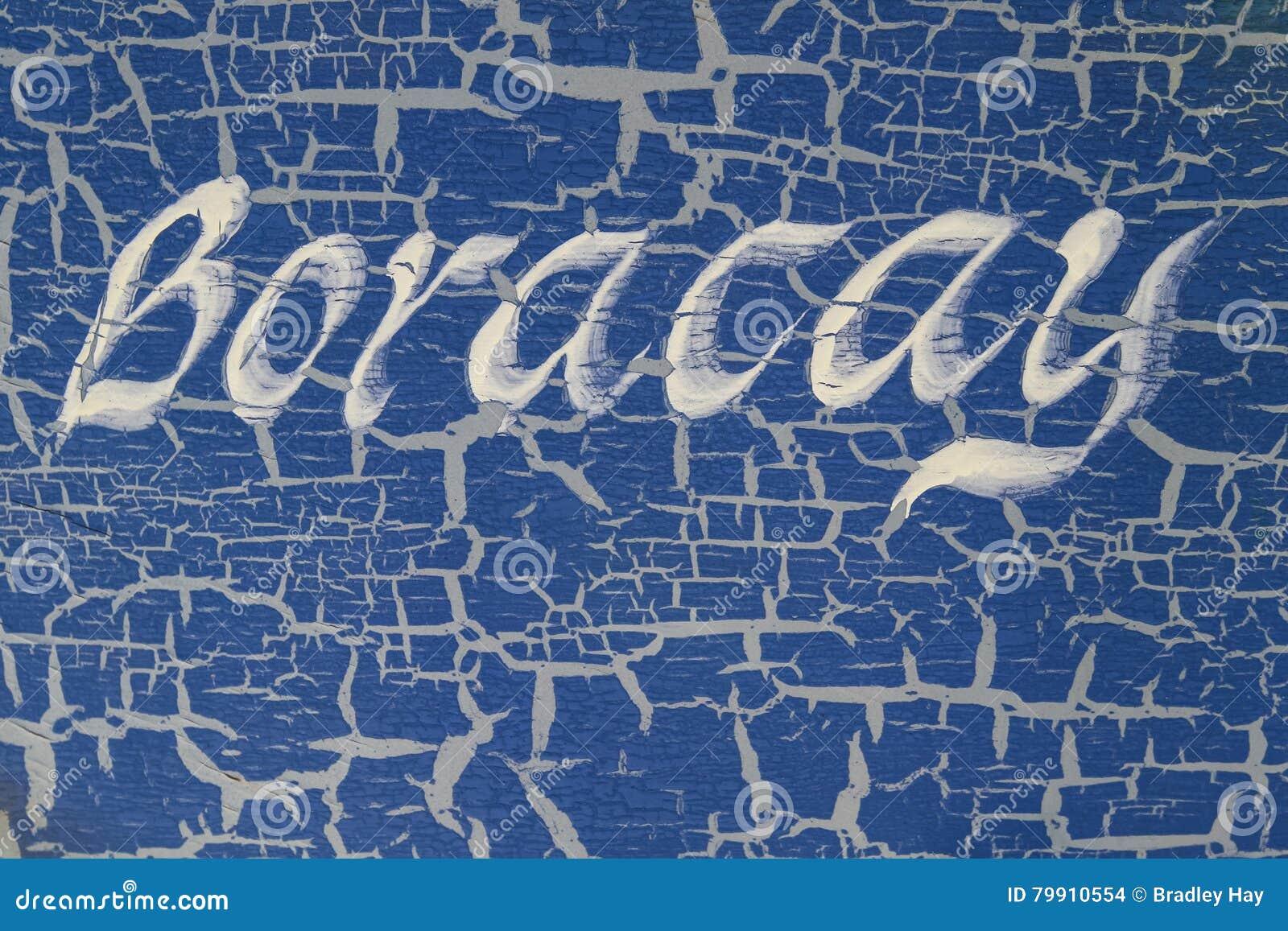 Imię wyspa pisać na łódkowatej stronie, Boracay wyspa, Filipiny
