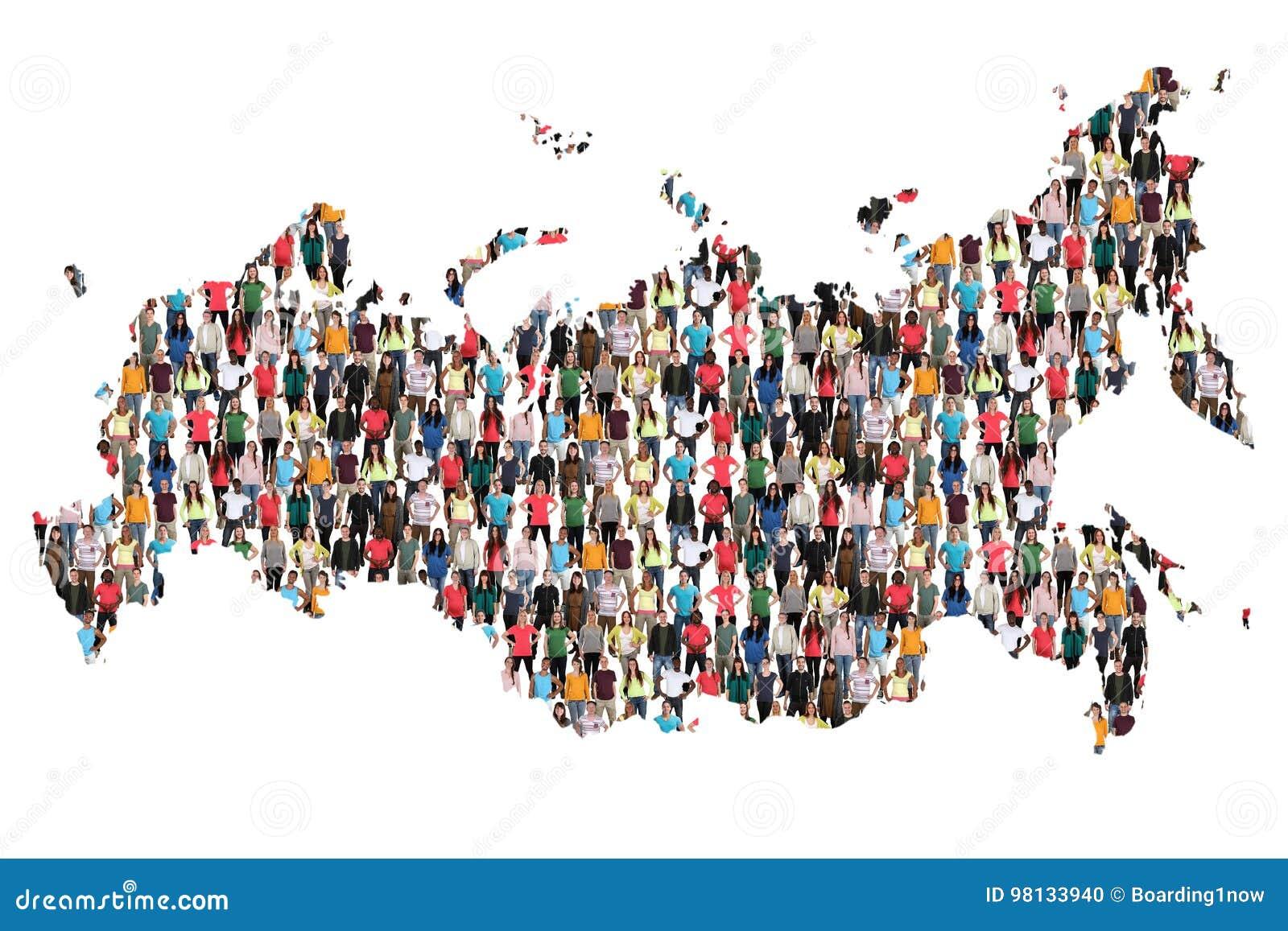 Imigração multicultural da integração do grupo de pessoas do mapa de Rússia