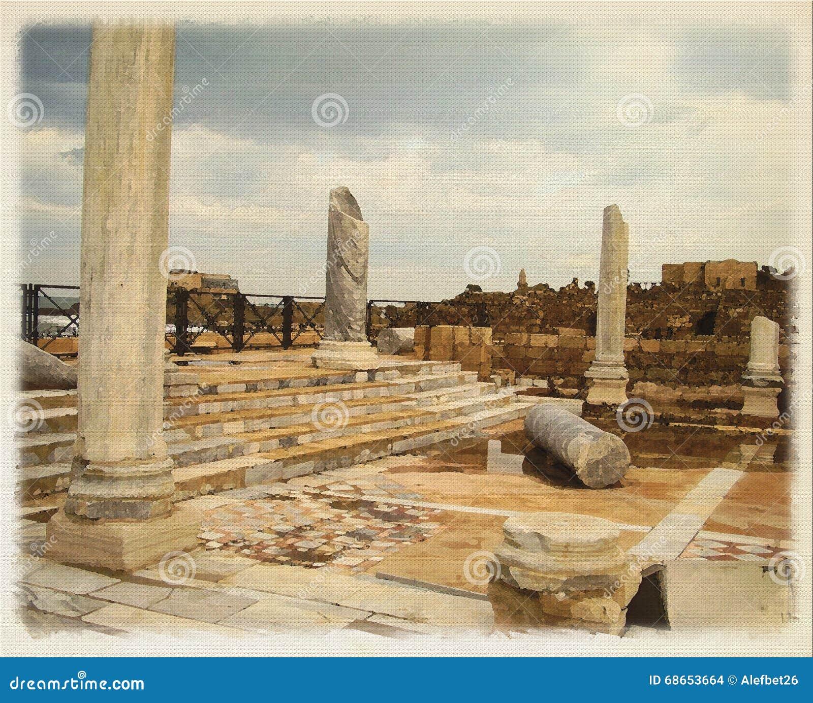 Imitation de Digital de la peinture d aquarelle, ruines du palais de Herod