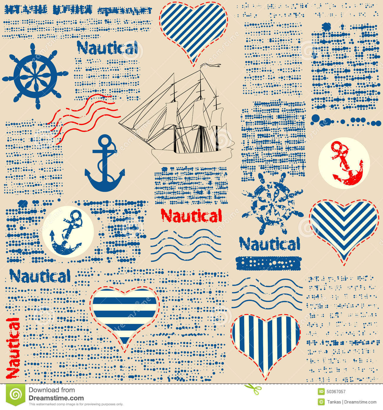 Key Elements Of Nautical Style: Imitation Of Newspaper In Nautical Style With Stock Vector