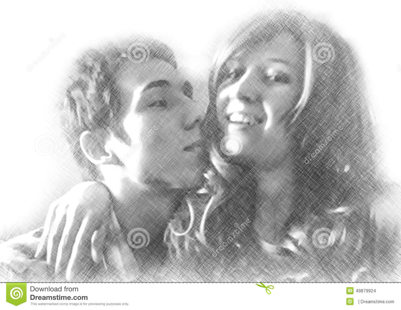 Imitation of pencil drawing of happy embracing loving couple stock