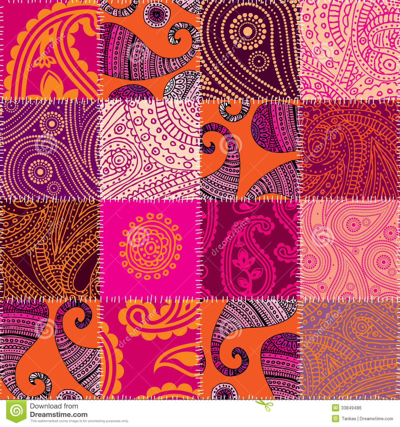 Imitation Of Quilting Design In Indian Style With Stock