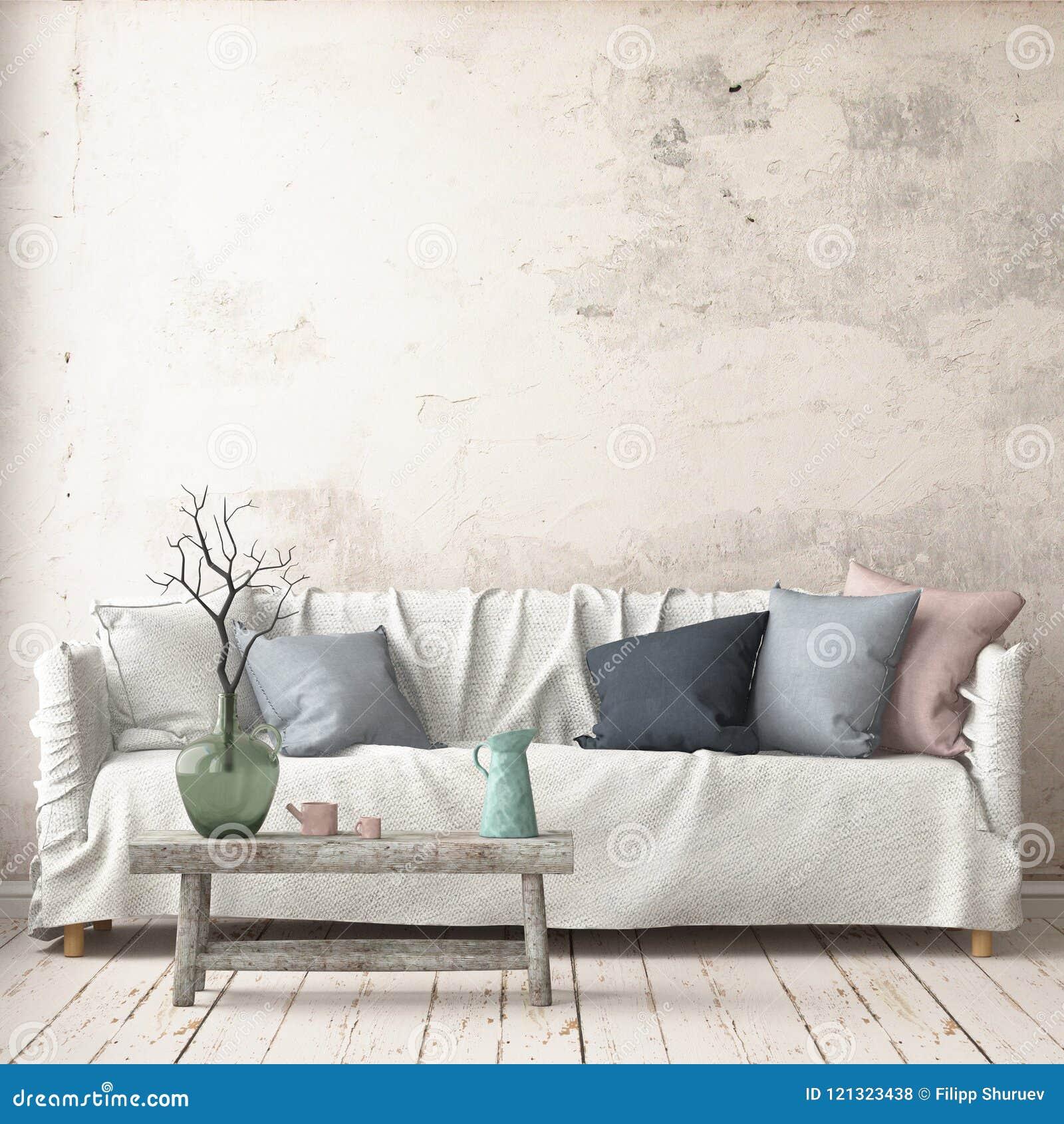 Imite encima de interior en estilo escandinavo con un sofá representación 3d
