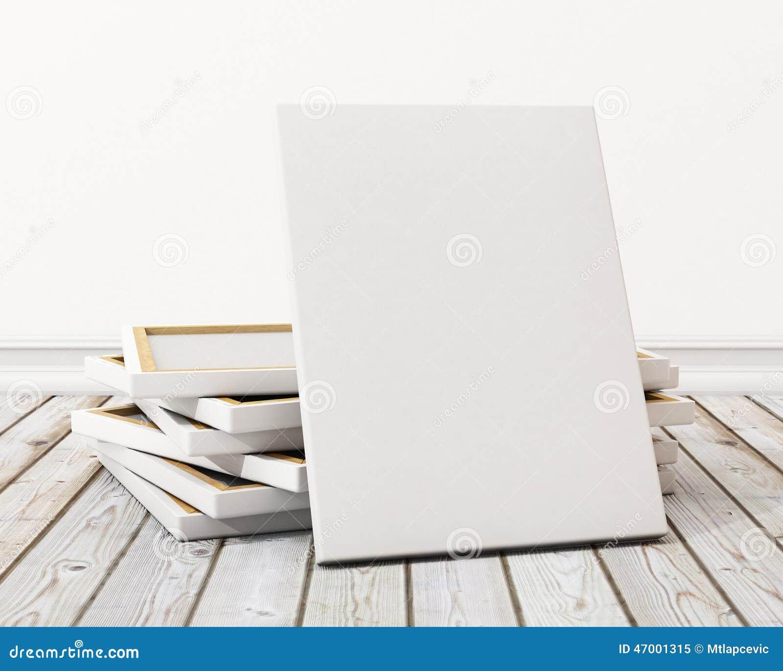 Imite encima de lona o del cartel en blanco con la pila de lona en el piso y la pared, fondo