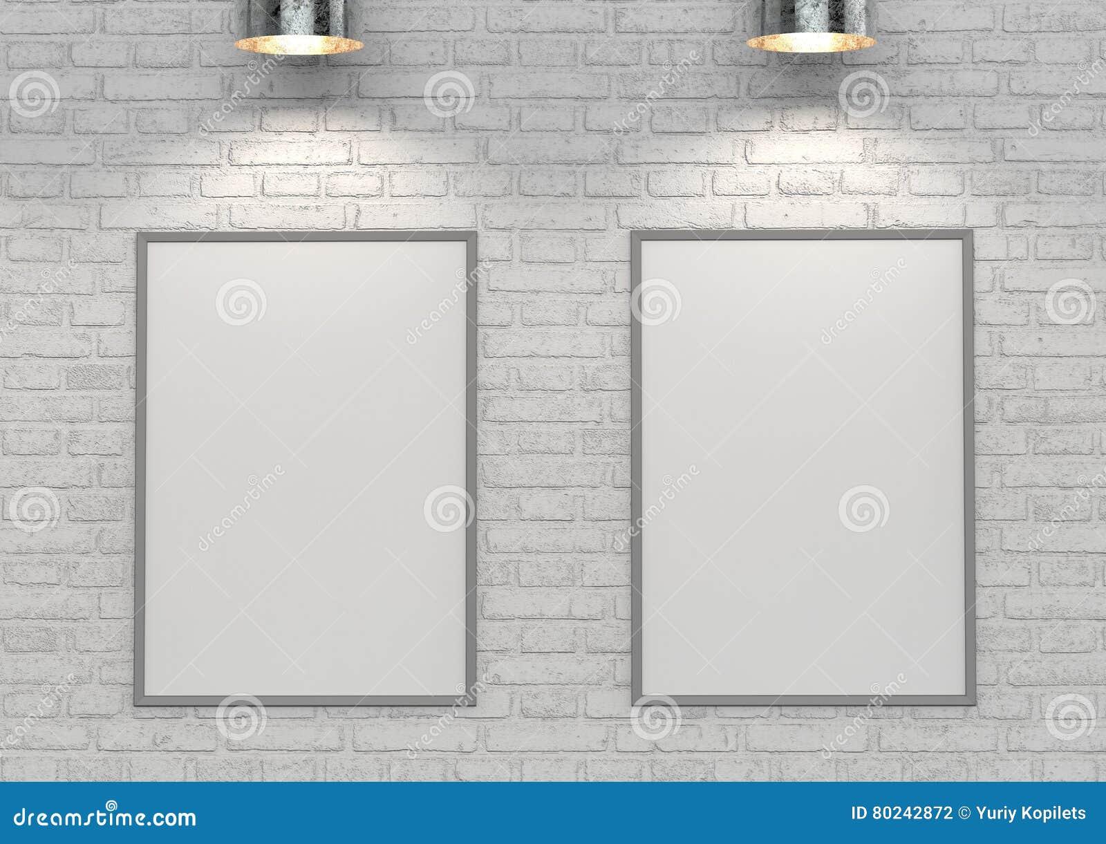 Imite encima de los carteles en la pared de ladrillo blanca con la lámpara ilustración 3D