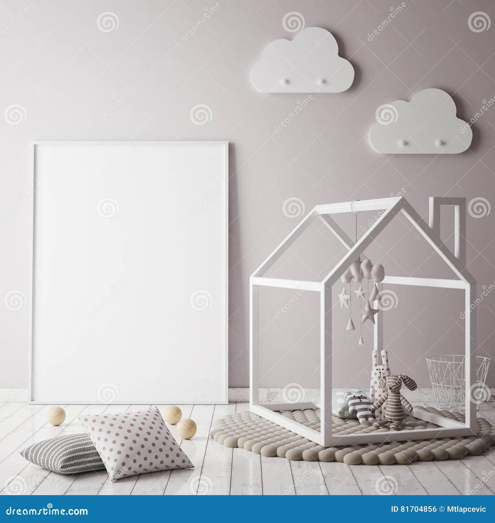 Imite encima de marco del cartel en el dormitorio de los niños, fondo interior del estilo escandinavo,