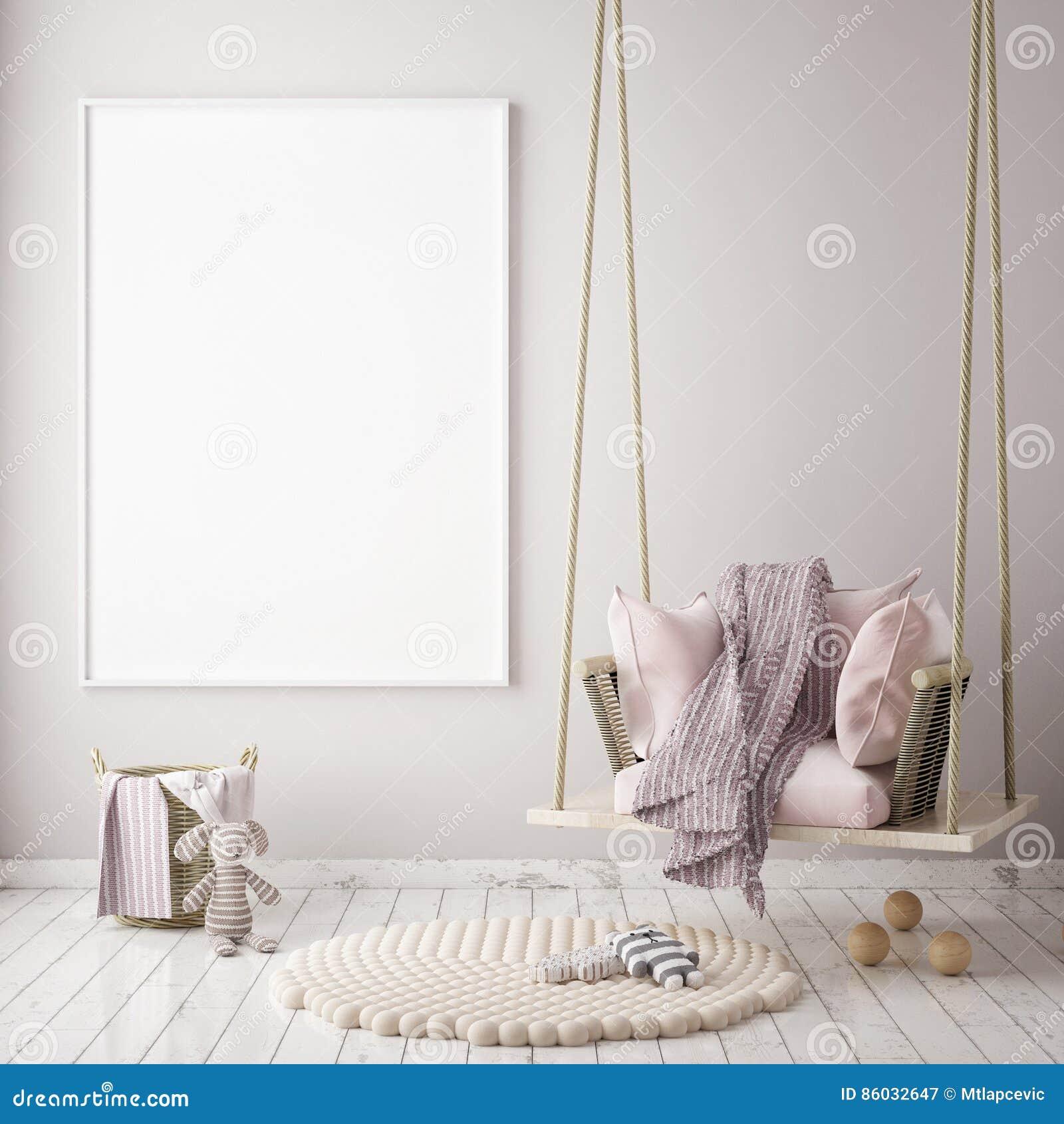 Imite encima de marco del cartel en el dormitorio de los niños, fondo interior del estilo escandinavo, 3D rinden