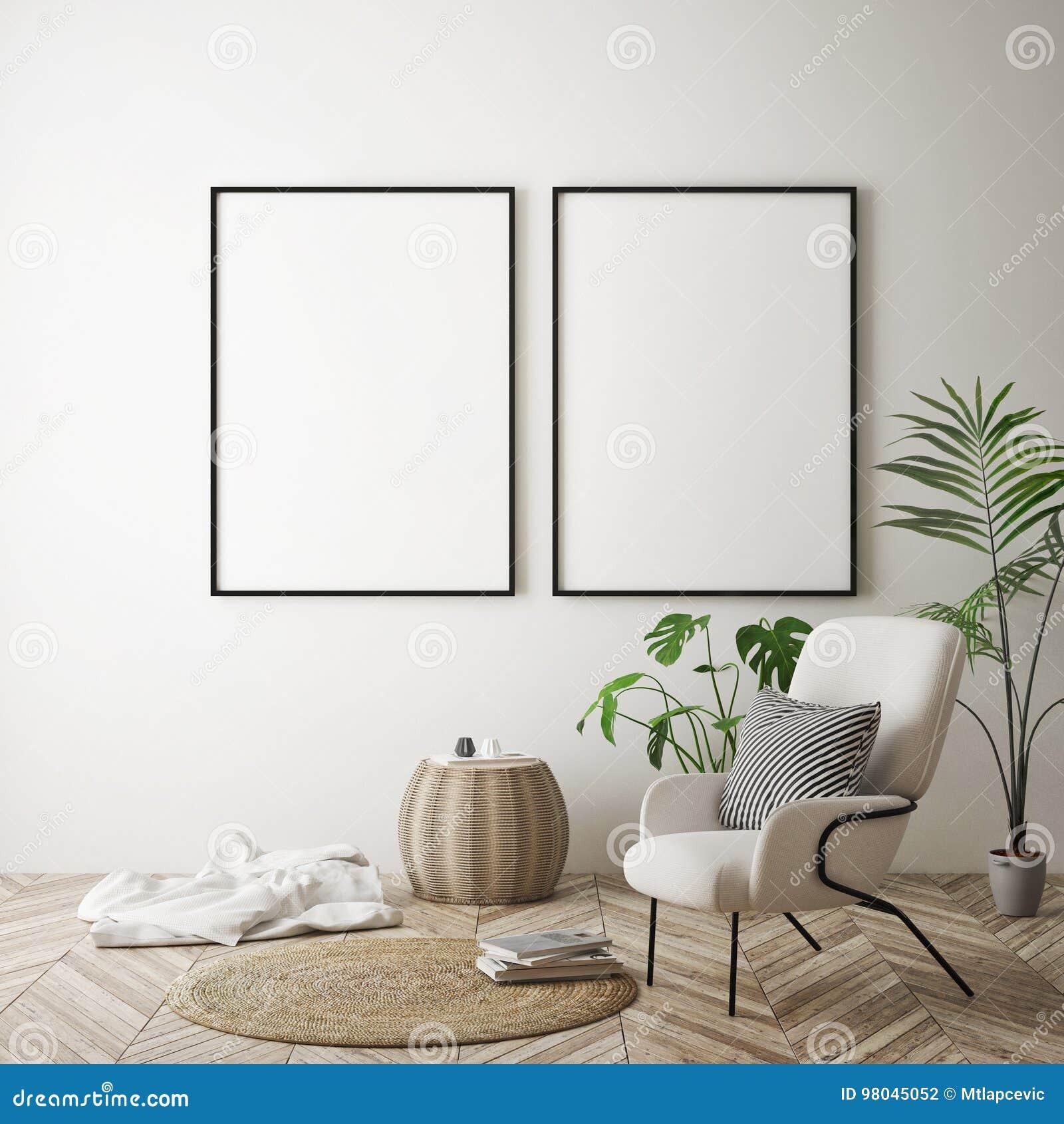 Imite encima de marco del cartel en el fondo interior del inconformista, estilo escandinavo, 3D rinden
