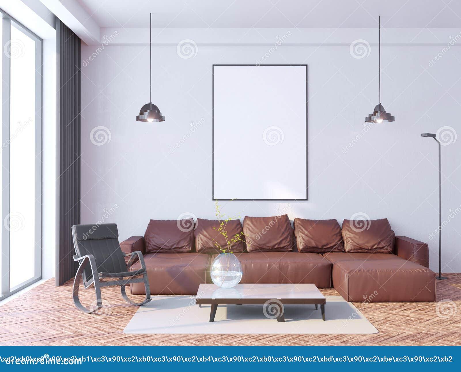 Imite encima de marco del cartel en el fondo interior del inconformista, estilo escandinavo, 3D rinden, el ejemplo 3D