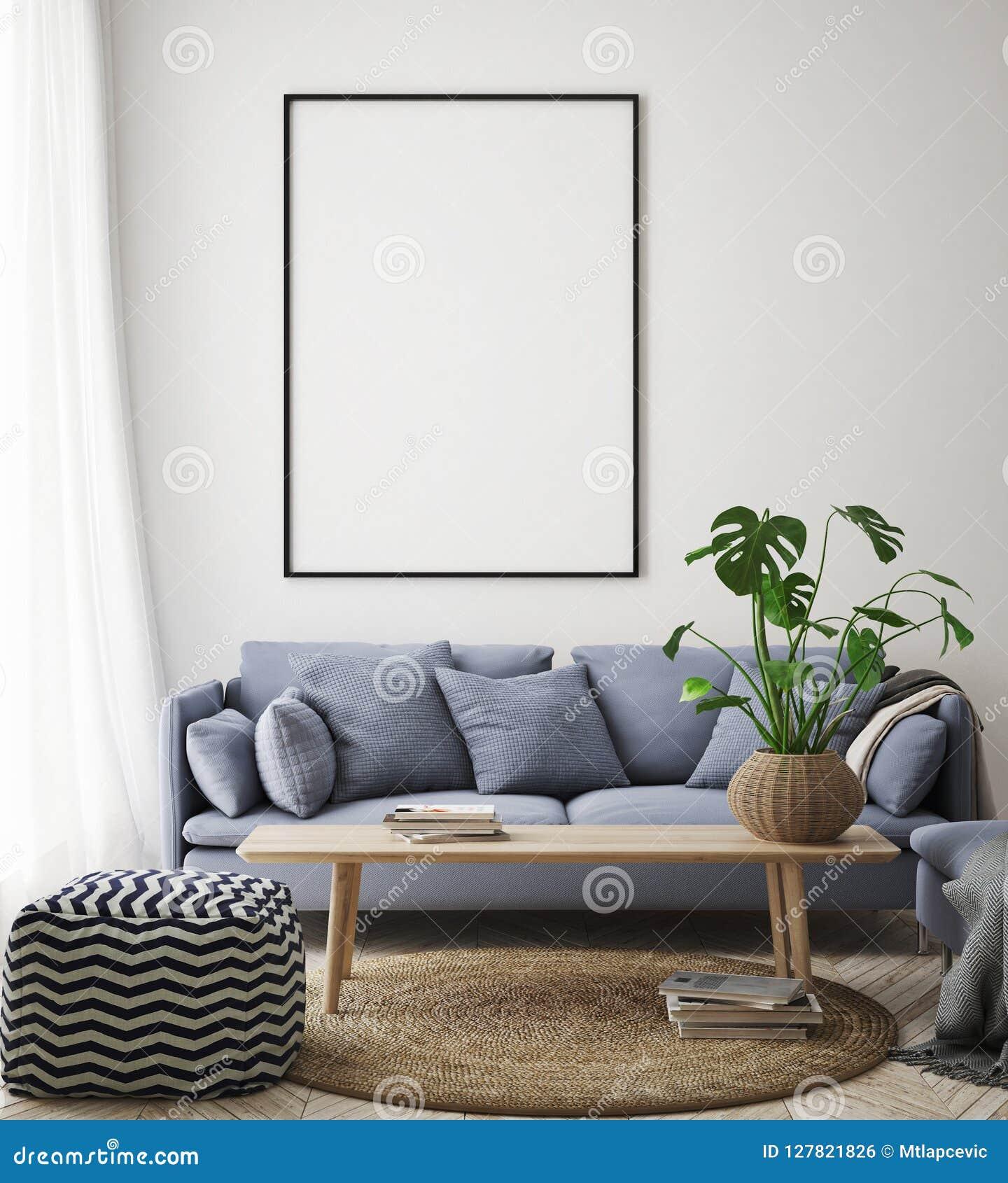 Imite encima de marco del cartel en el fondo interior del inconformista, sala de estar, estilo escandinavo, 3D rinden, el ejemplo