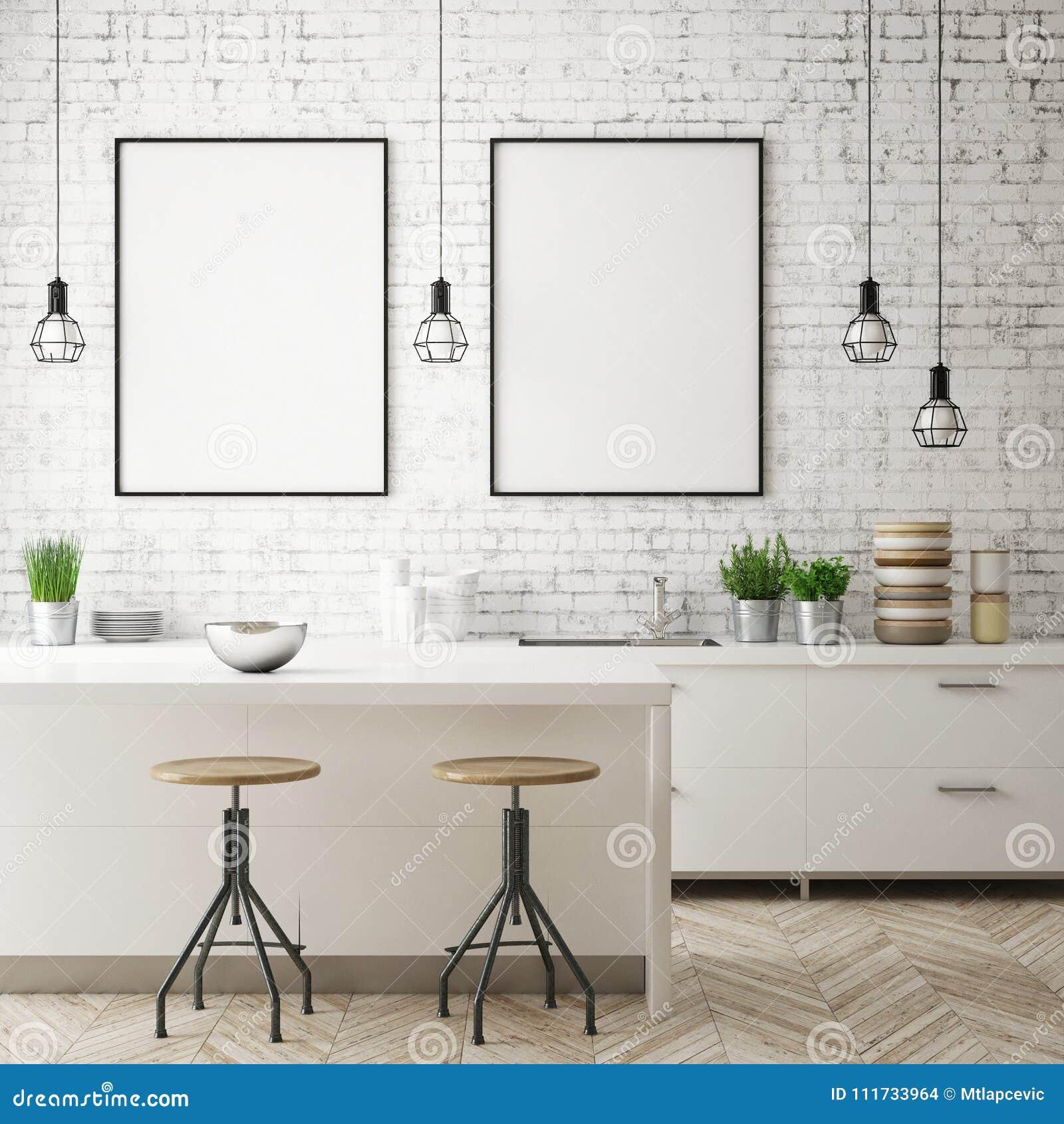 Imite encima de marco del cartel en el fondo interior de la cocina, estilo escandinavo, 3D rinden