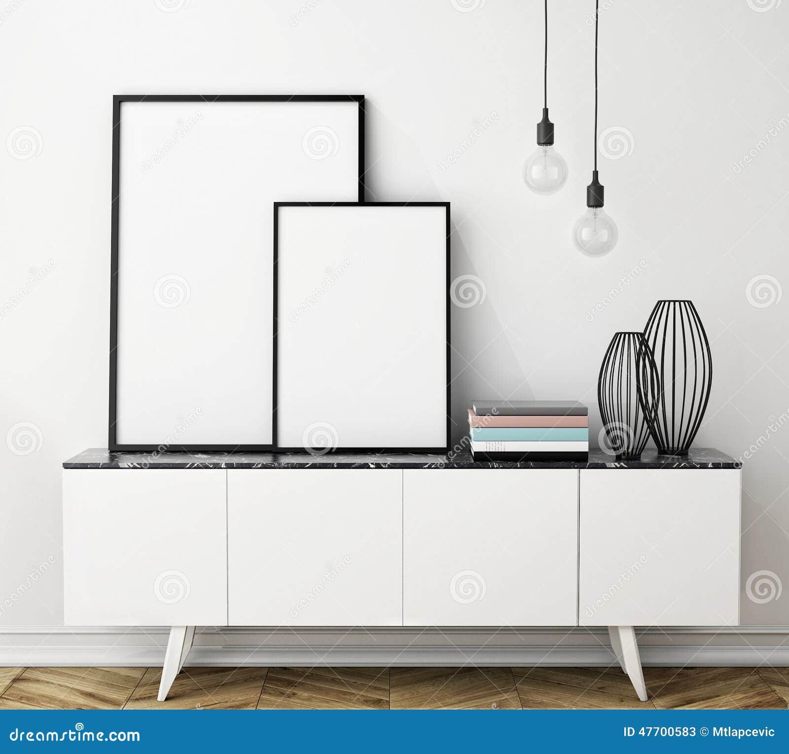 Imite encima de marco del cartel en el pecho de cajones, interior
