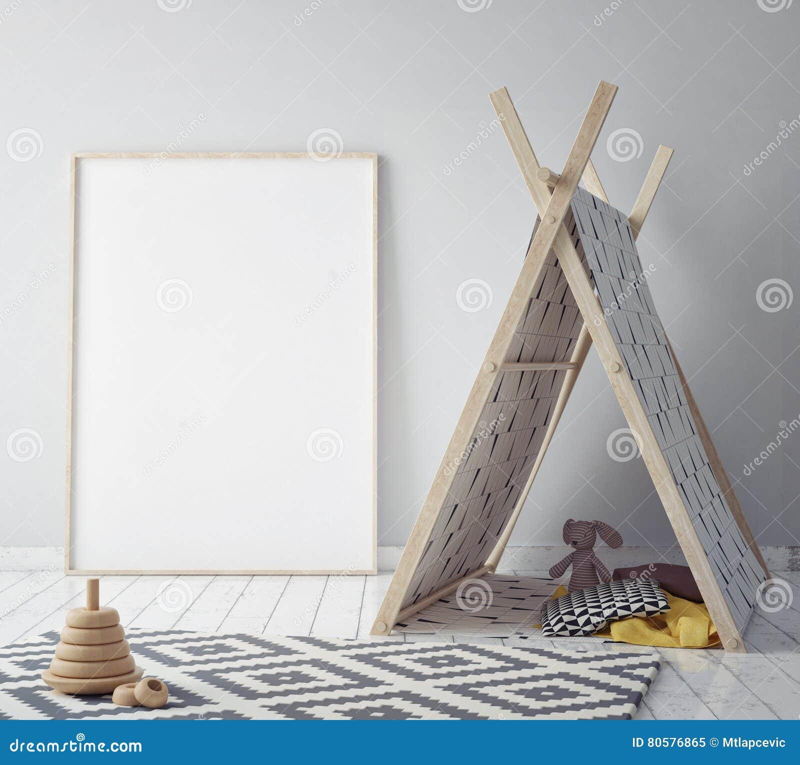 Imite encima de marco del cartel en el sitio del inconformista, fondo interior del estilo escandinavo, 3D rinden