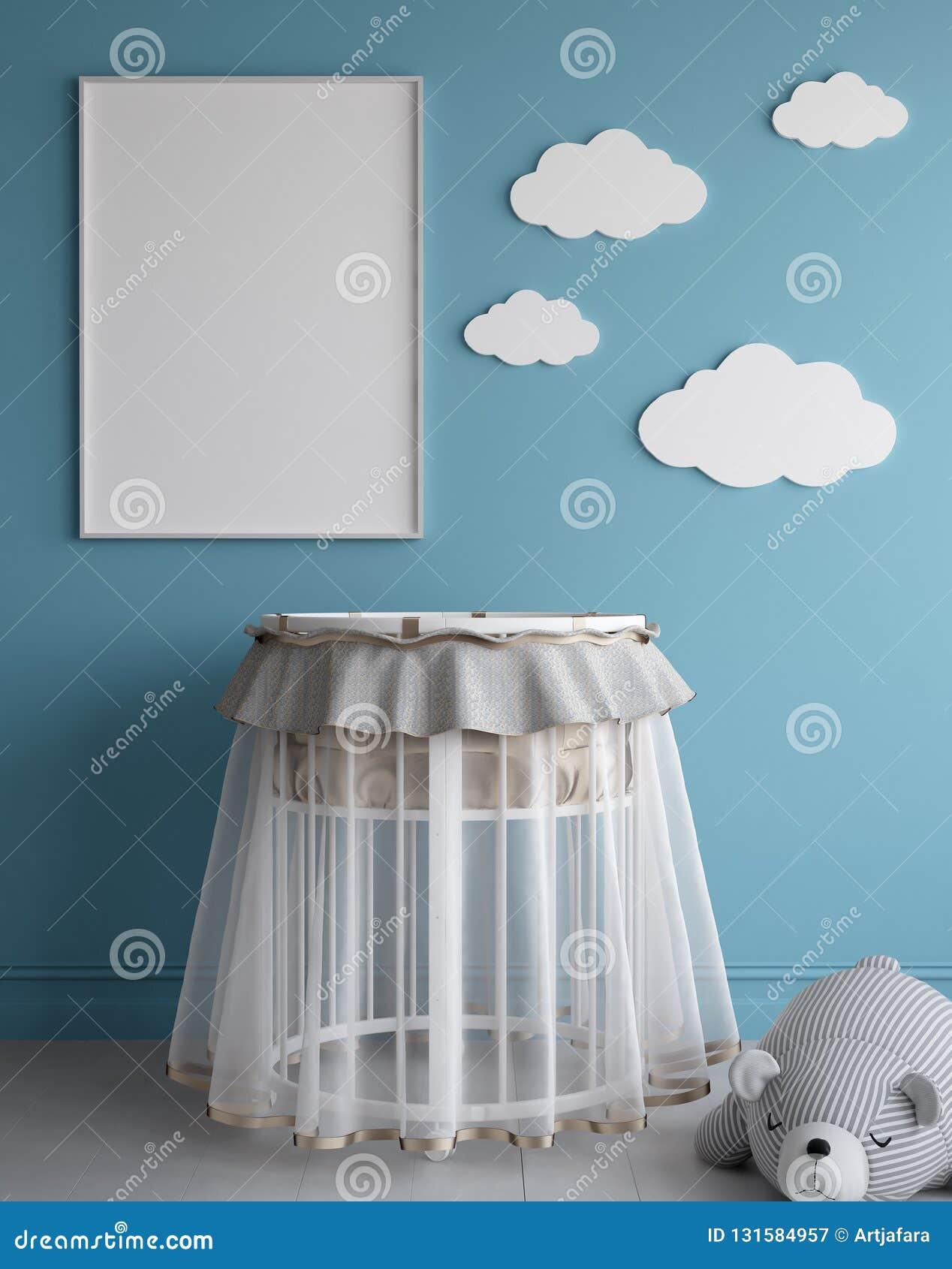 Imite encima de marco del cartel en el sitio de niños, fondo escandinavo del interior del estilo