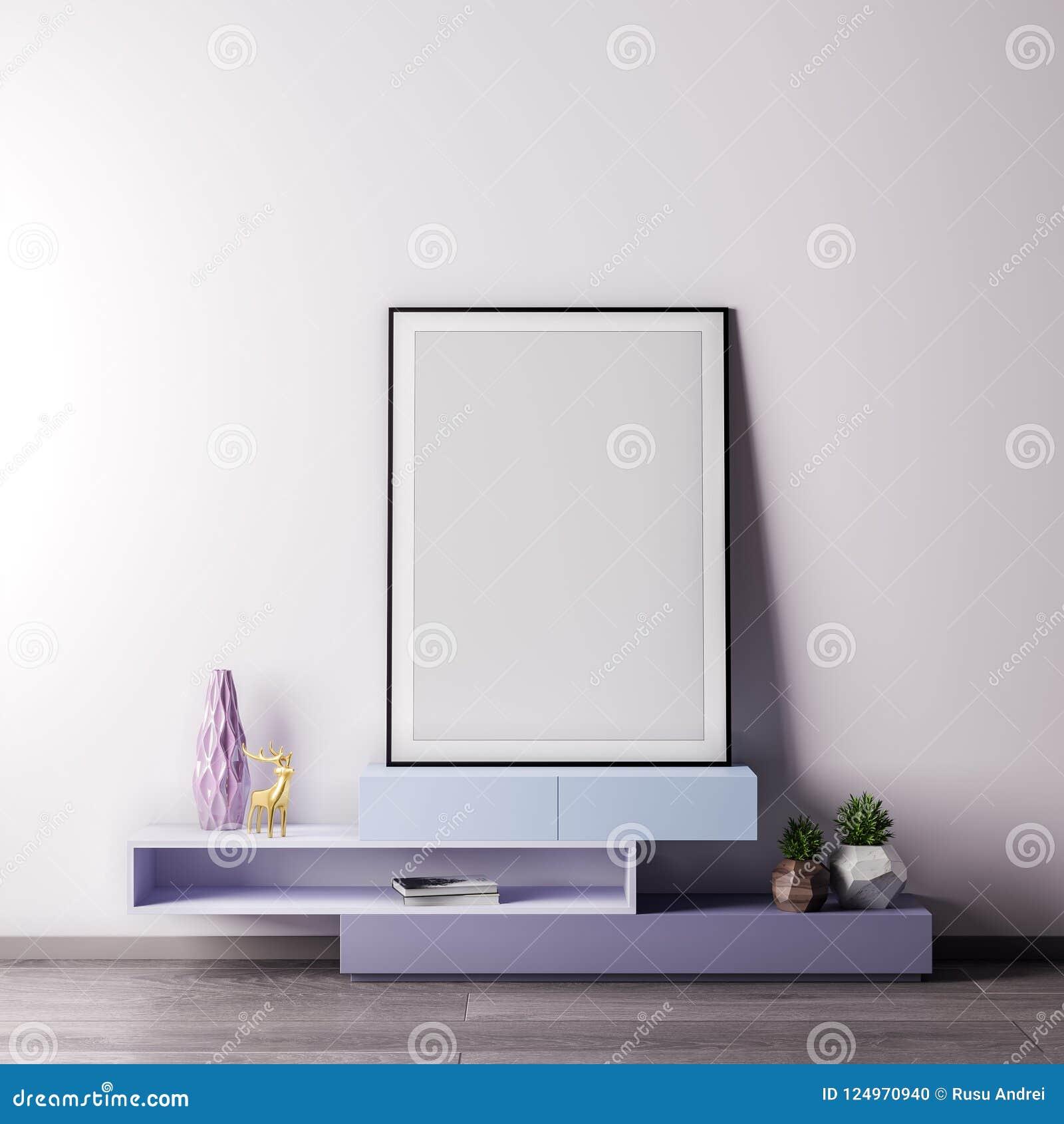 Imite encima de marco del cartel en sitio interior con el estilo wal, moderno blanco, ejemplo 3D