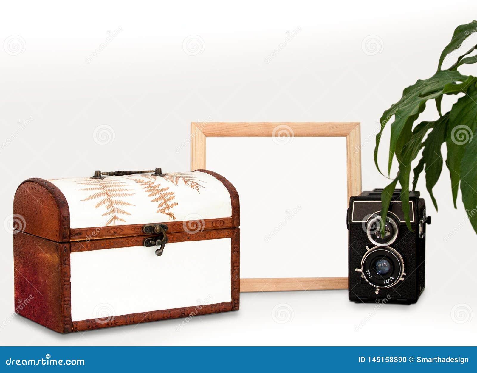 Imite encima de marco de madera, de maqueta cuadrada casera interior vieja del cartel de la cámara, de la planta y del pecho con
