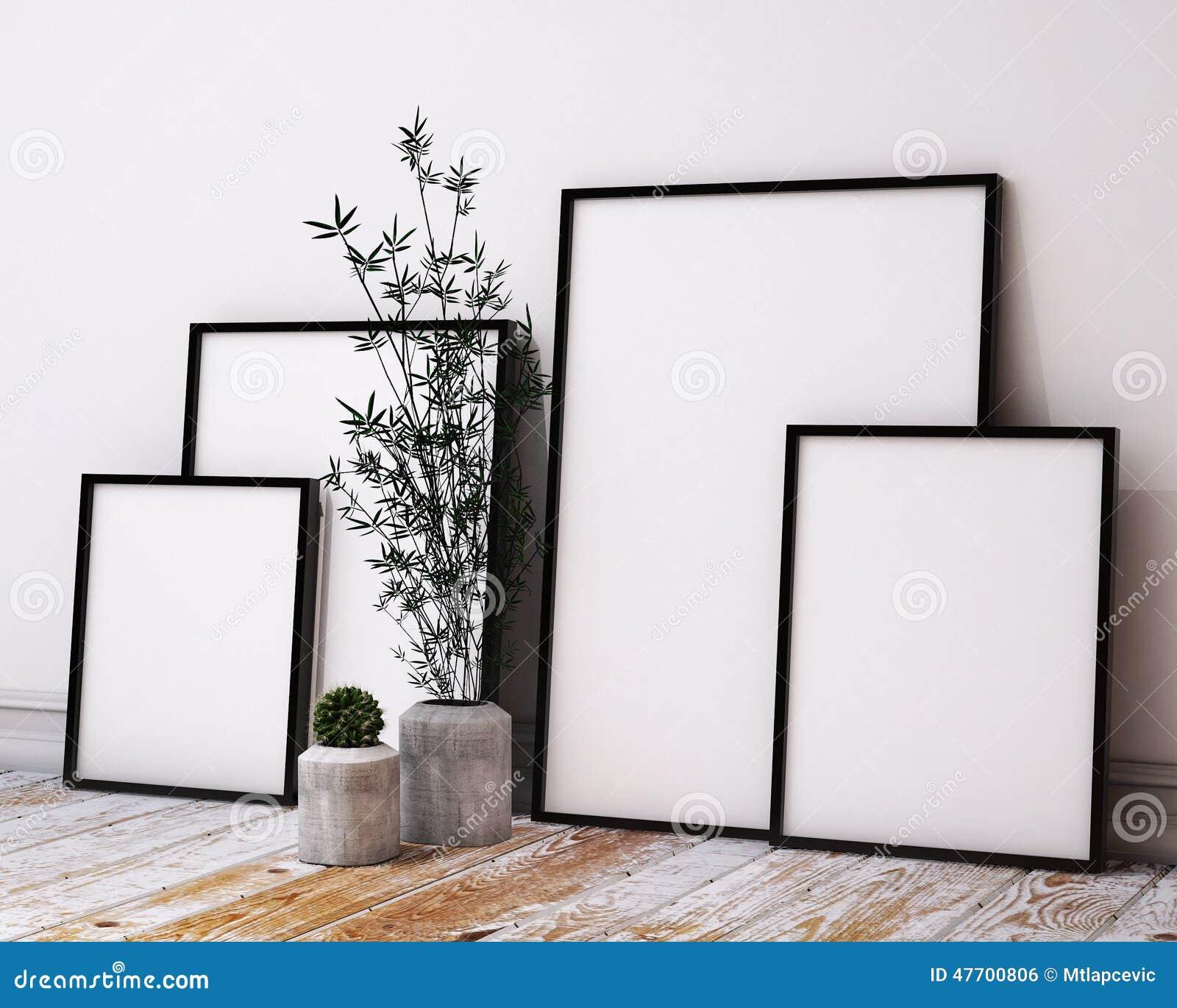 Imite encima de marcos del cartel en interior del desván del inconformista