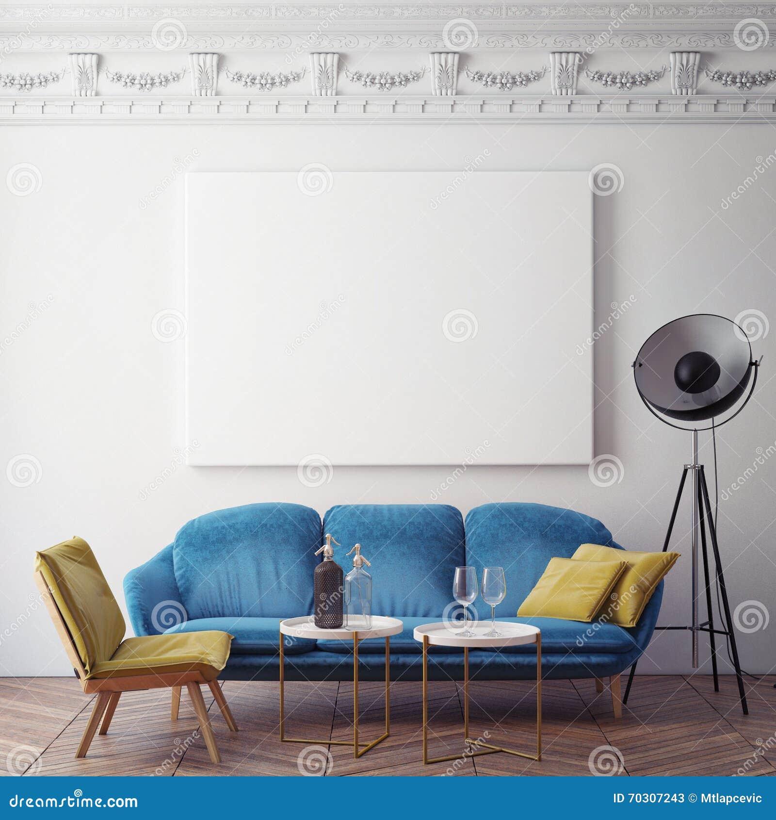 Imite encima del cartel en blanco en la pared del dormitorio, fondo del ejemplo 3D,