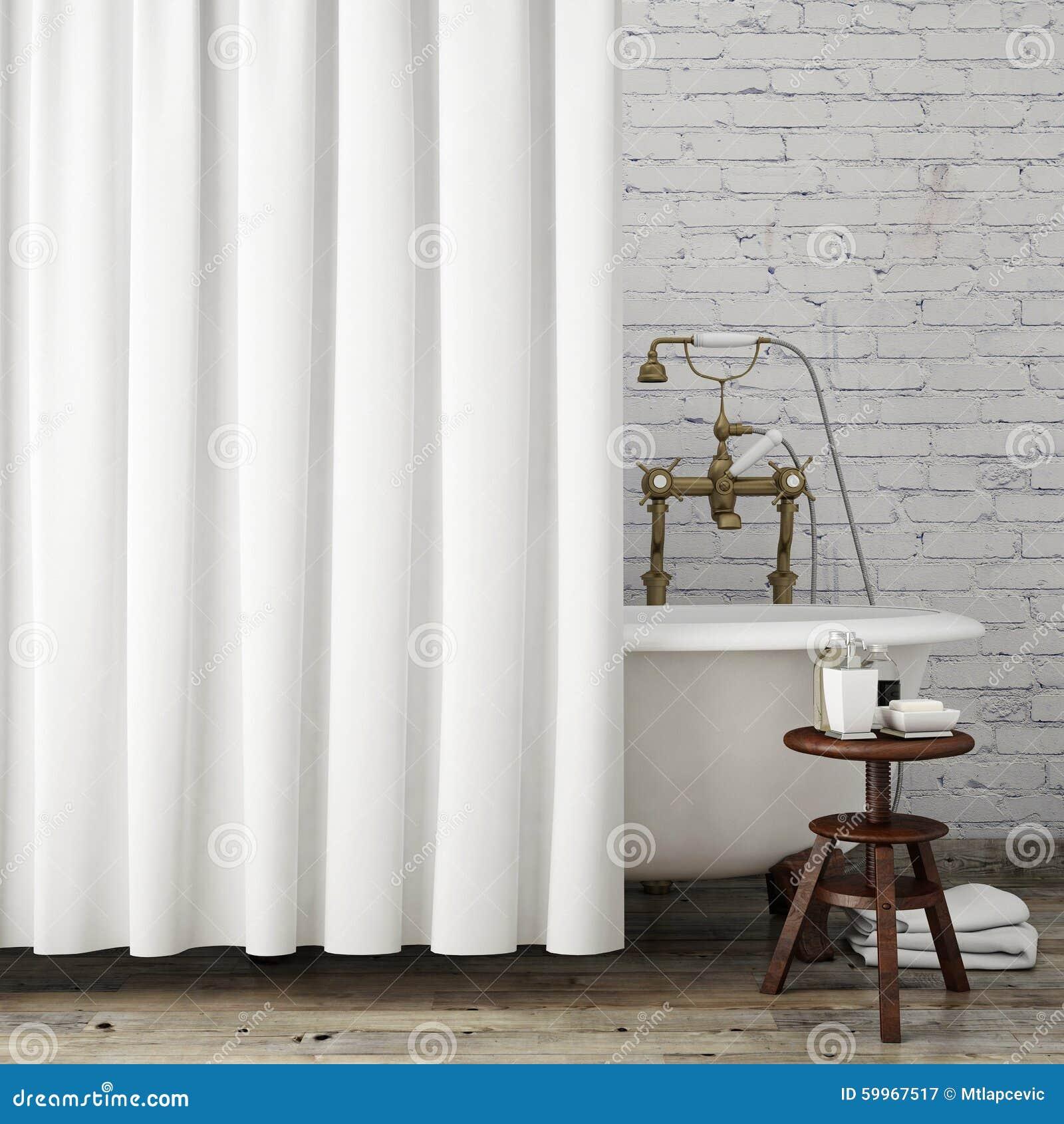 Imite Encima Del Cuarto De Baño Con Las Cortinas Blancas, Fondo ...