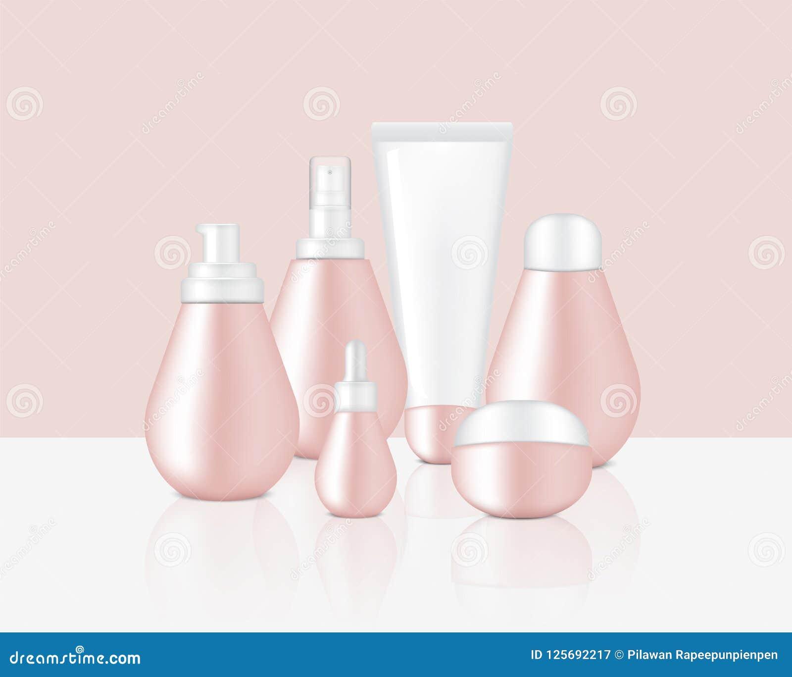 Imite encima del jabón de Rose Gold Pastel Color Cosmetic, del champú, de la crema, del dropper realista del aceite y de las bote