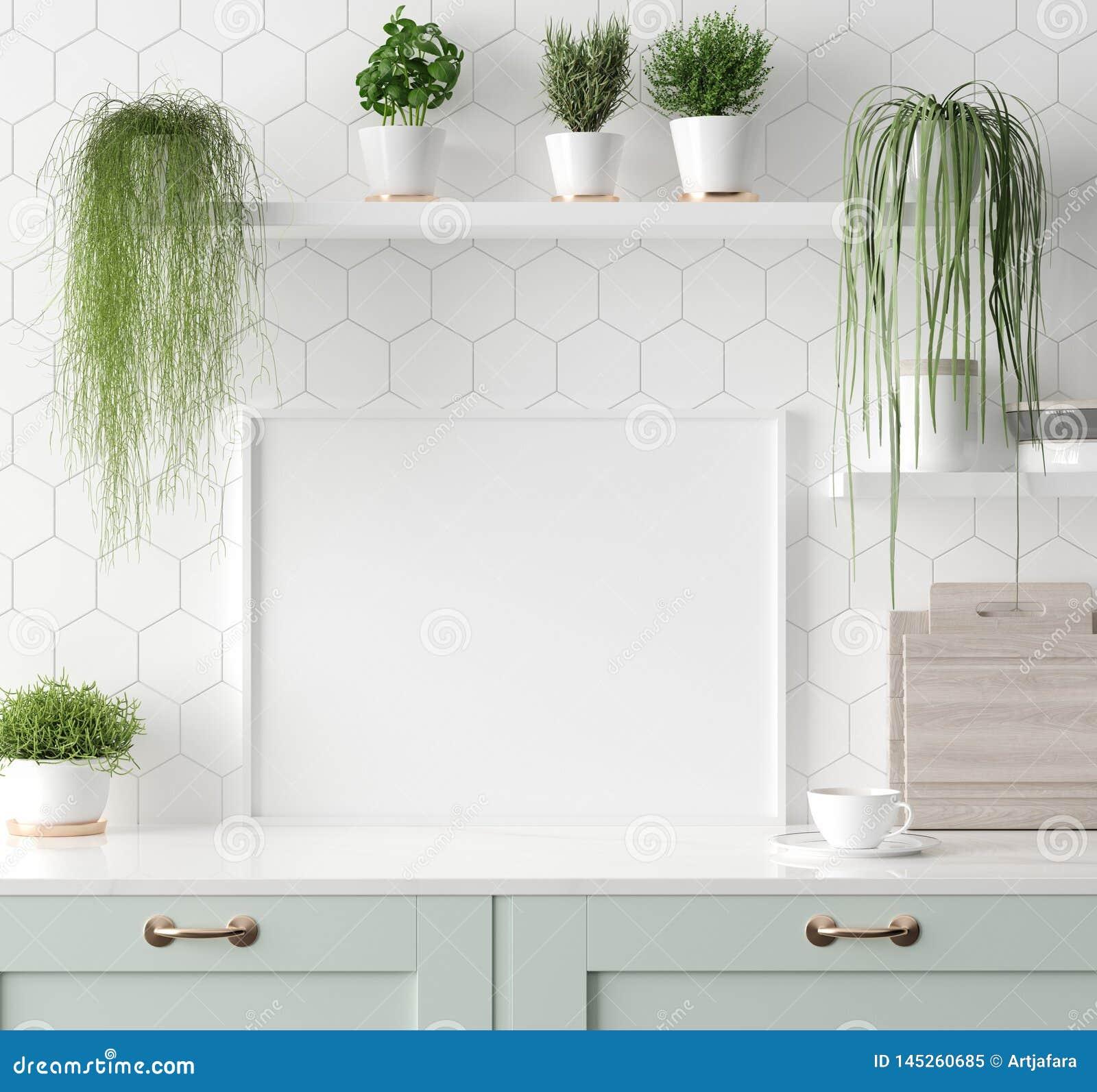 Imite encima del marco en la cocina interior, estilo escandinavo del cartel